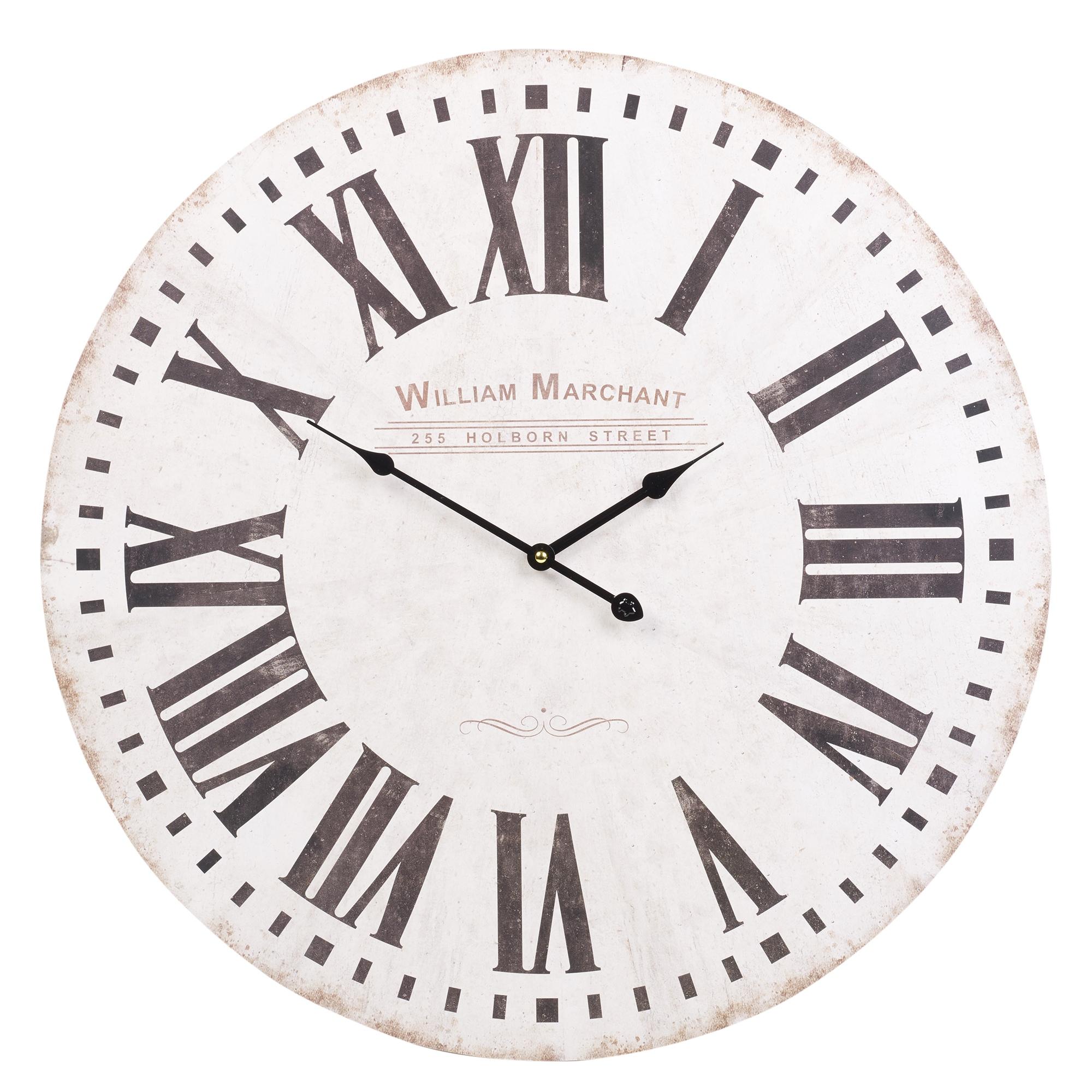 60cm extra grande redondo reloj de pared madera vintage