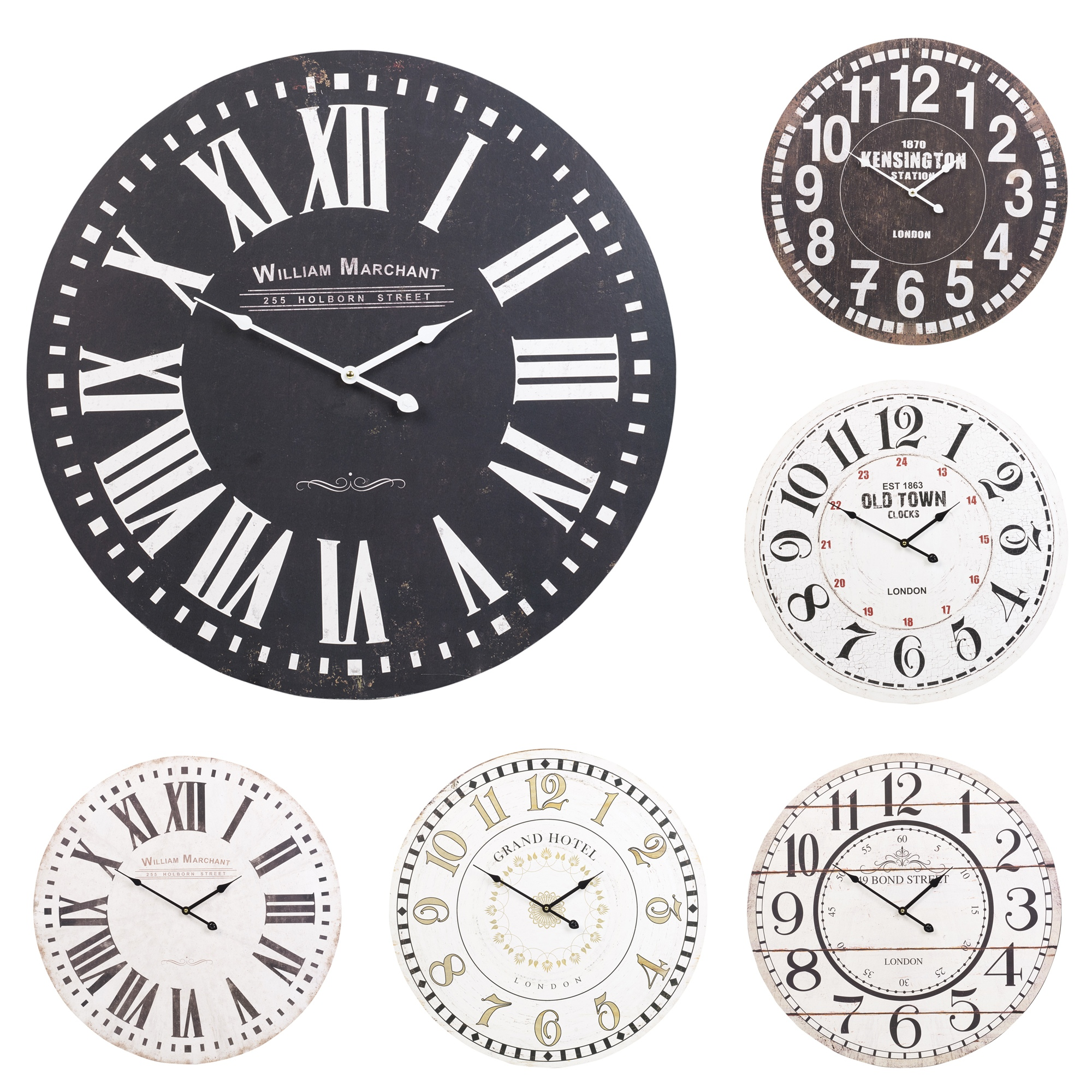 60cm extra large round wooden wall clock vintage retro antique distressed chic ebay. Black Bedroom Furniture Sets. Home Design Ideas