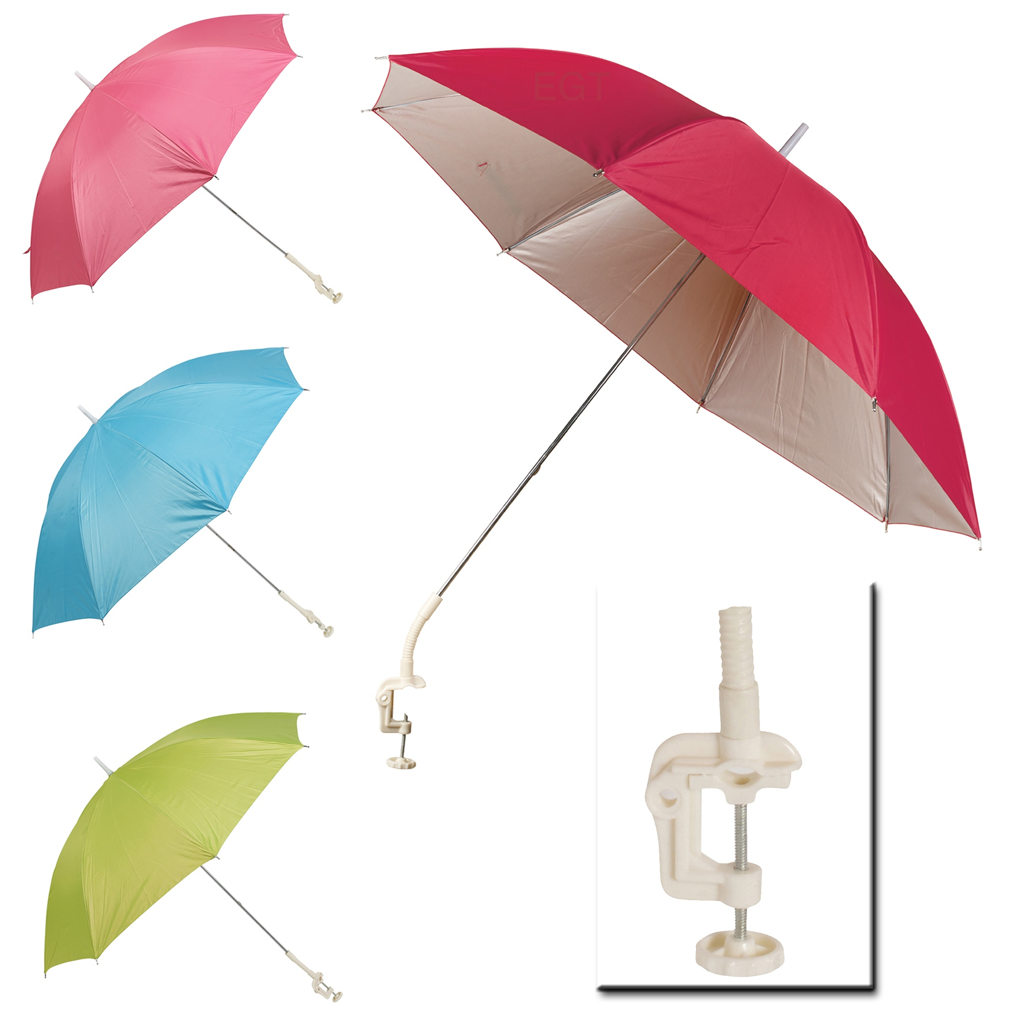 clip on screw clamp garden parasol sunshade balcony sun uv protection umbrella ebay. Black Bedroom Furniture Sets. Home Design Ideas