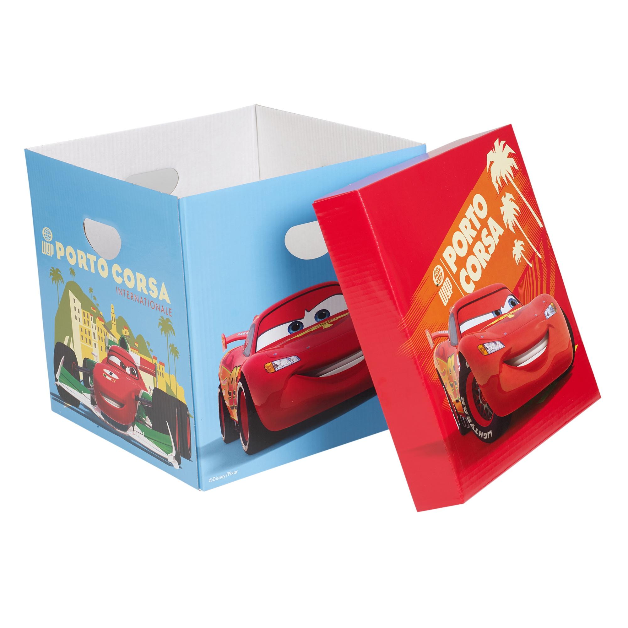 Set of 2 disney cars cardboard storage boxes with lids for Craft storage boxes with lids