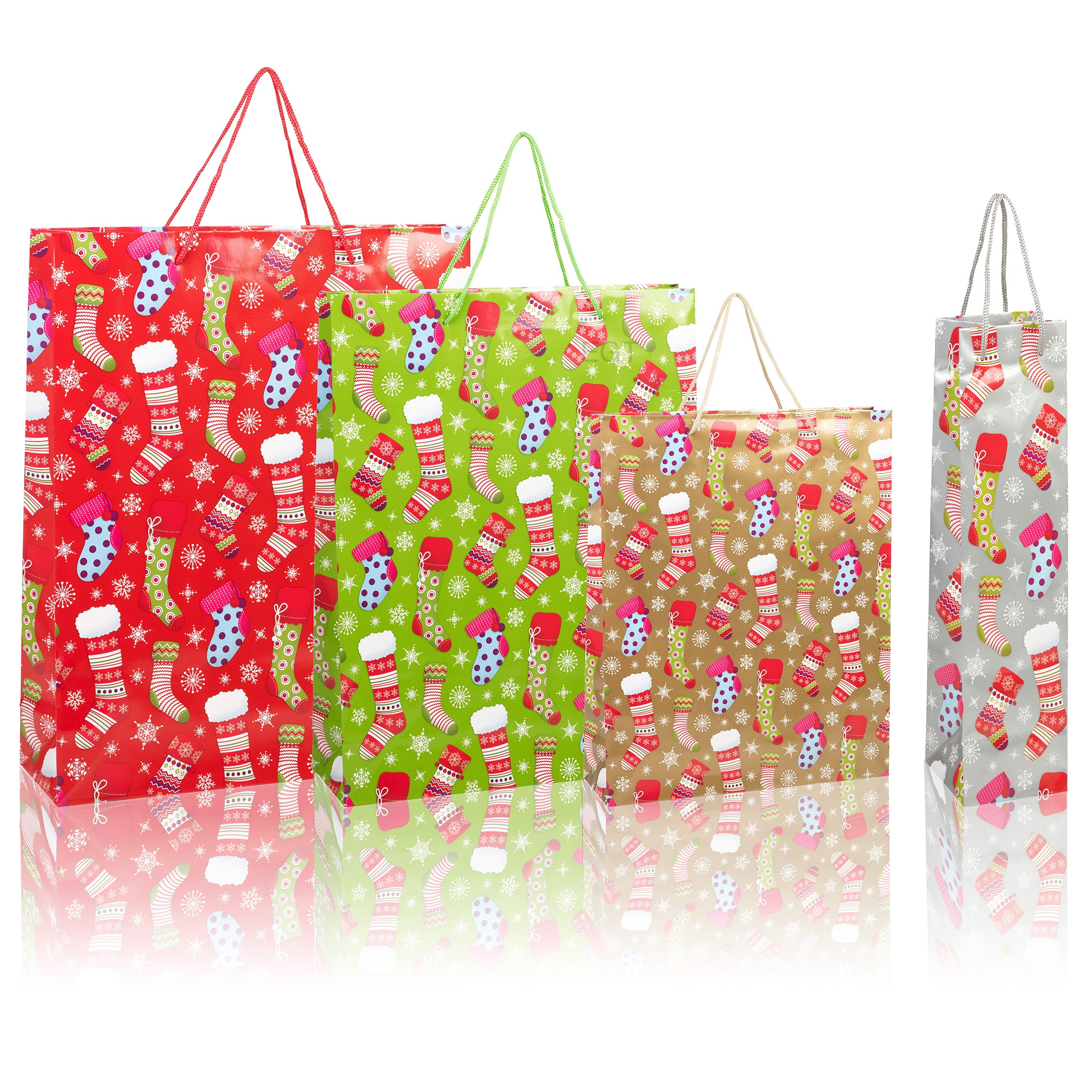 Set Of 4 x Christmas Xmas Birthday Gift Present Bags Bottle Cord Handles 4 Sizes