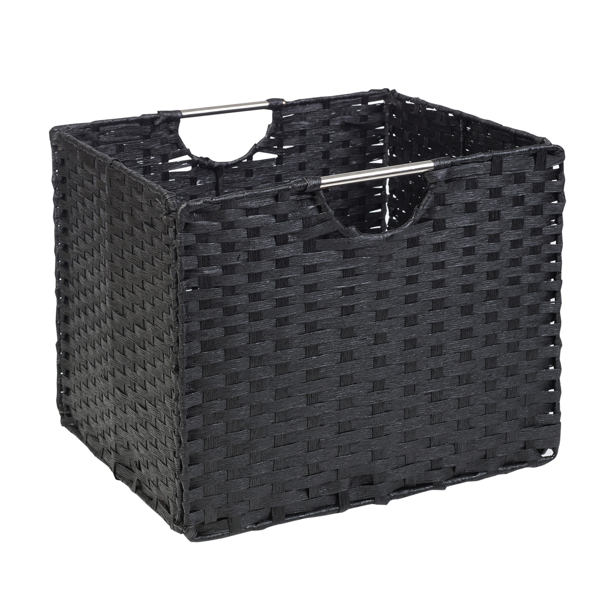 Woven Storage Baskets With Handles : Woven rattan square wicker storage basket with brushed