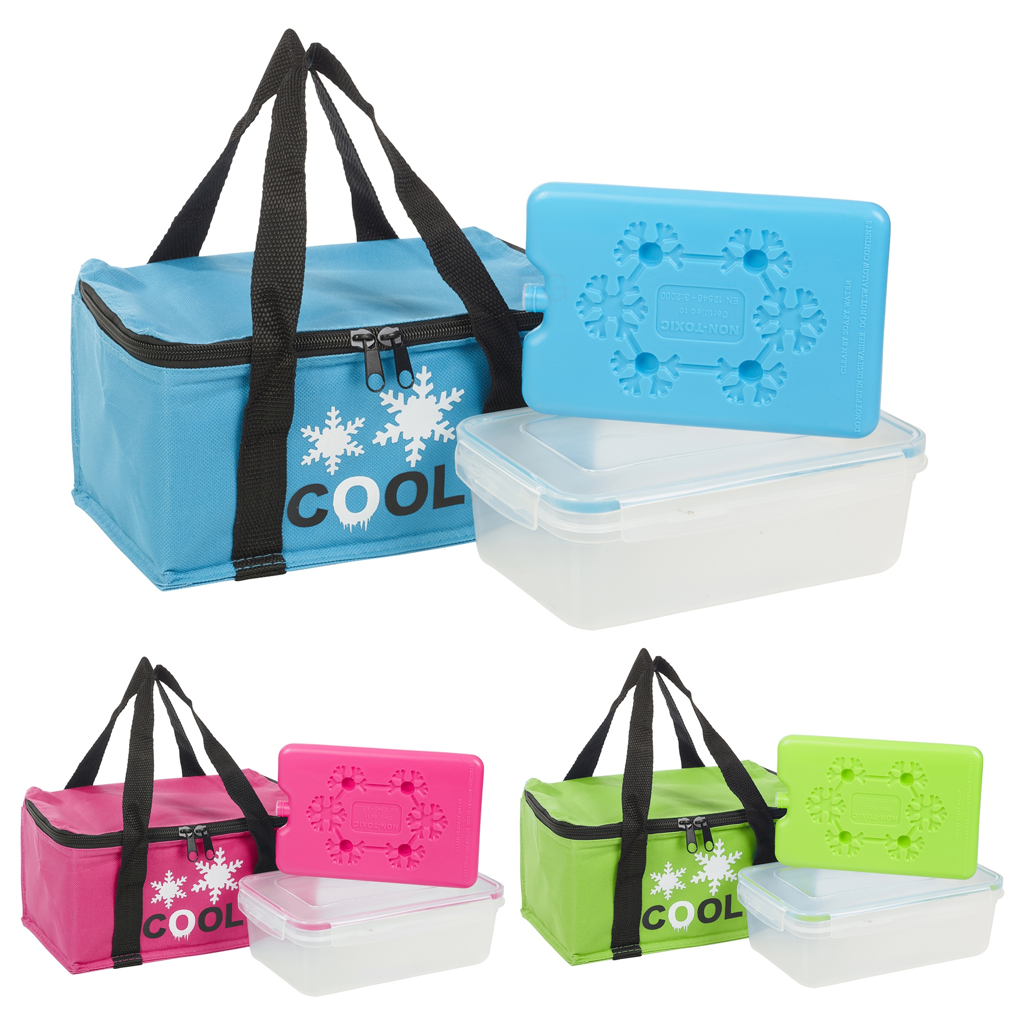 3pc Cool Bag Lunch Box Ice Pack Cooler School Picnic Set