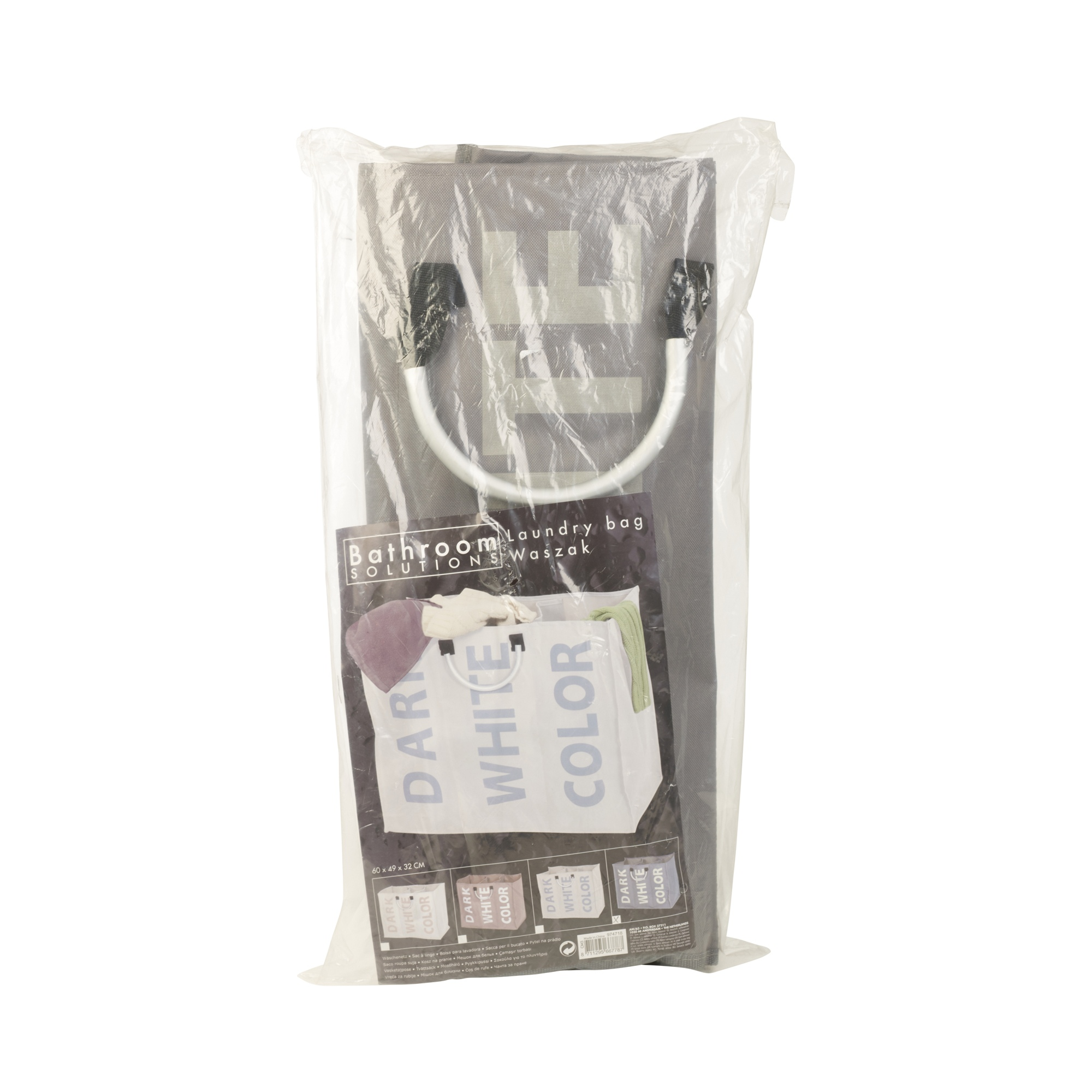3 Section Laundry Bag Basket Canvas Colour White Dark