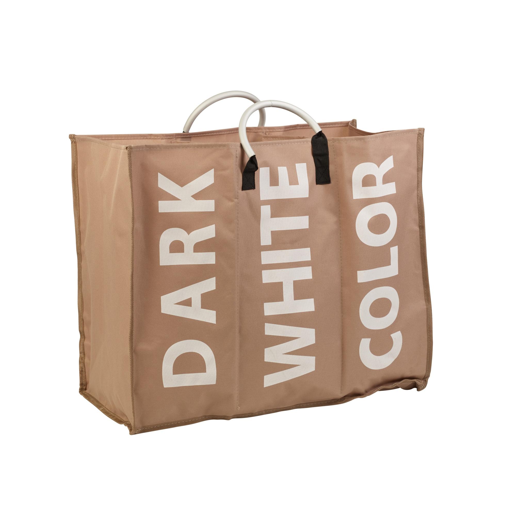 3 Section Laundry Bag Basket Canvas Colour White Dark Storage Washing Hamper Bin Ebay
