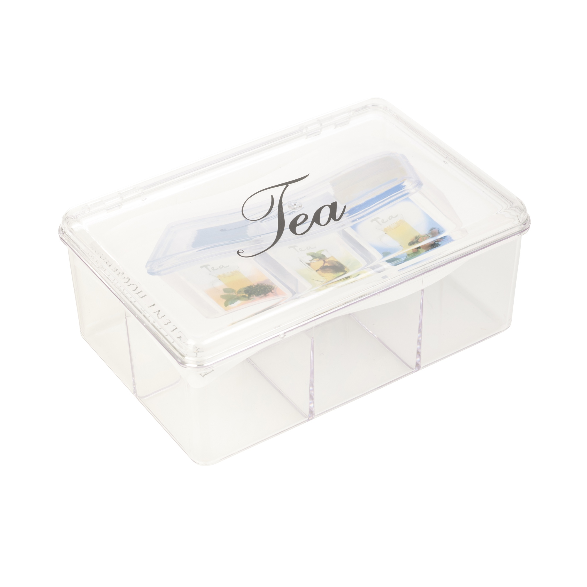 Acrylic Clear Tea Box 6 Sections With Lid Compartments