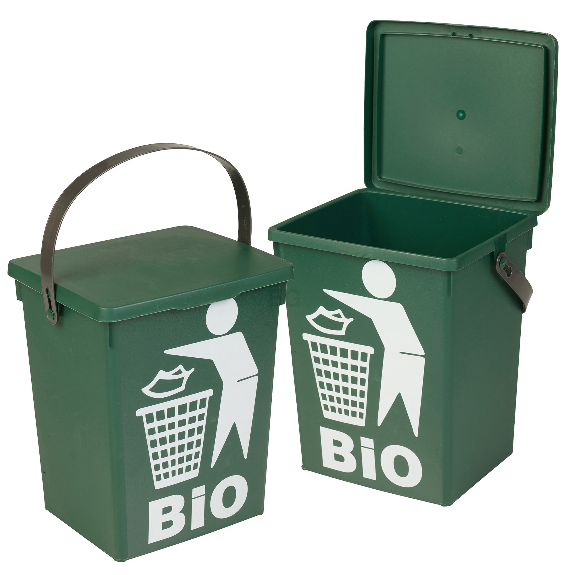 Plastic Green 5L Small Food Recycling Bin Lid Kitchen Worktop Waste ...