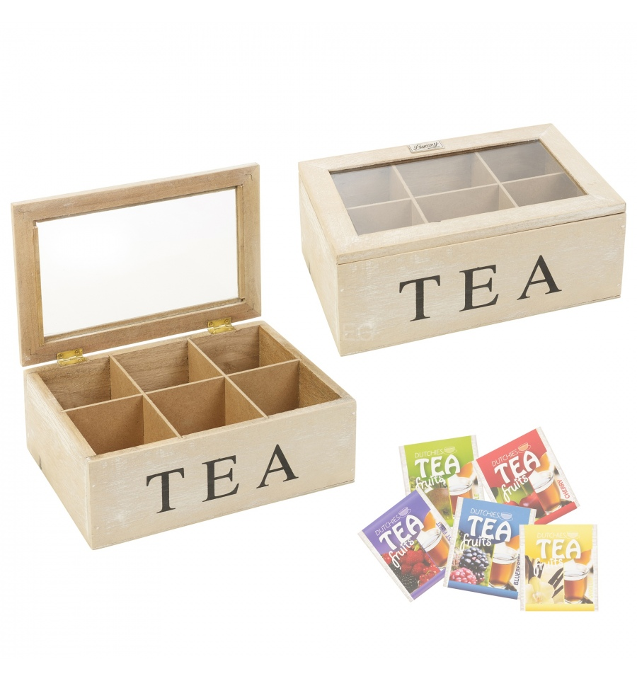Shabby Chic White Washed Tea Box 581488