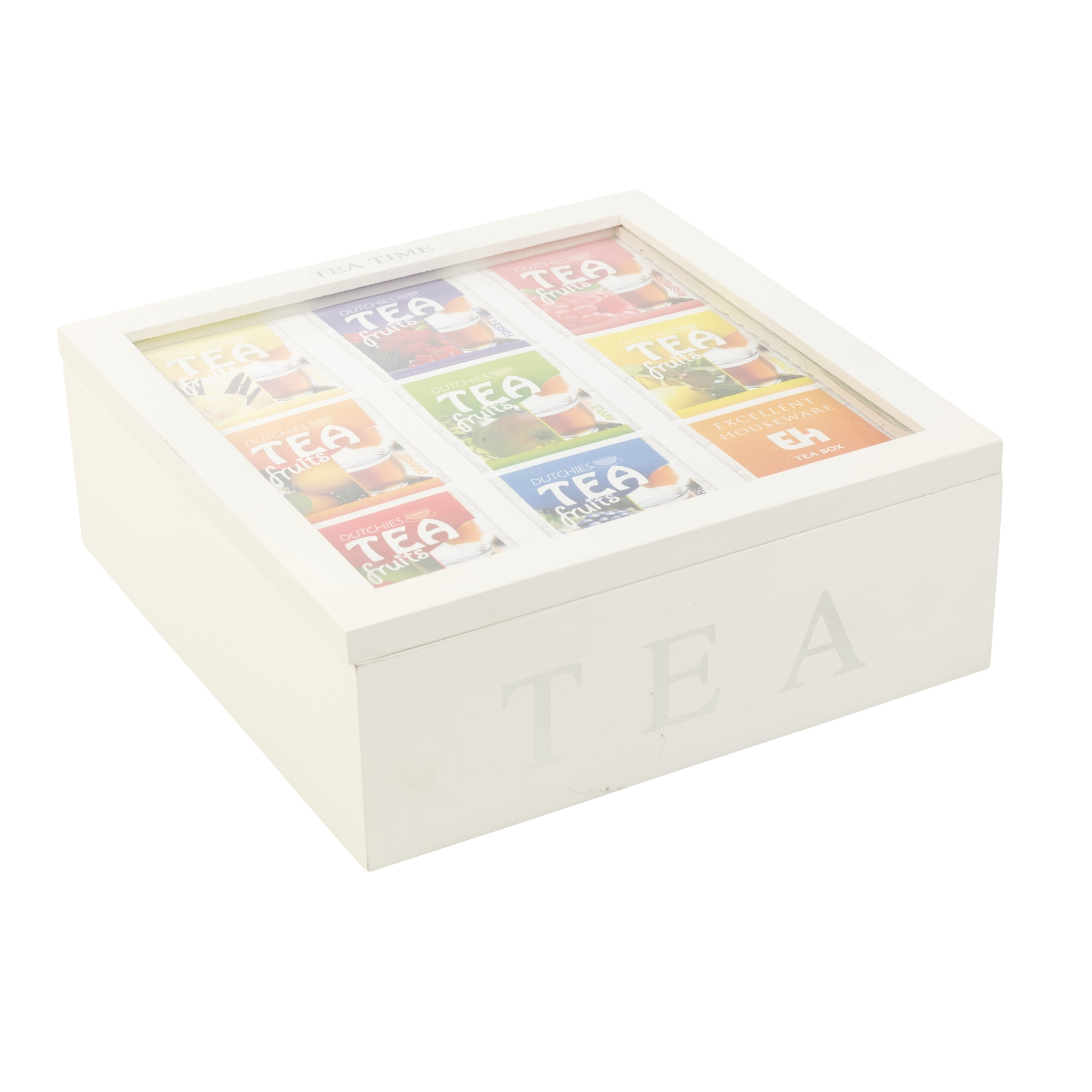 Wooden MDF Tea Box 9 Section Clear Lid Compartments ...