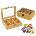 6 Compartment Bamboo Tea Box [573910]