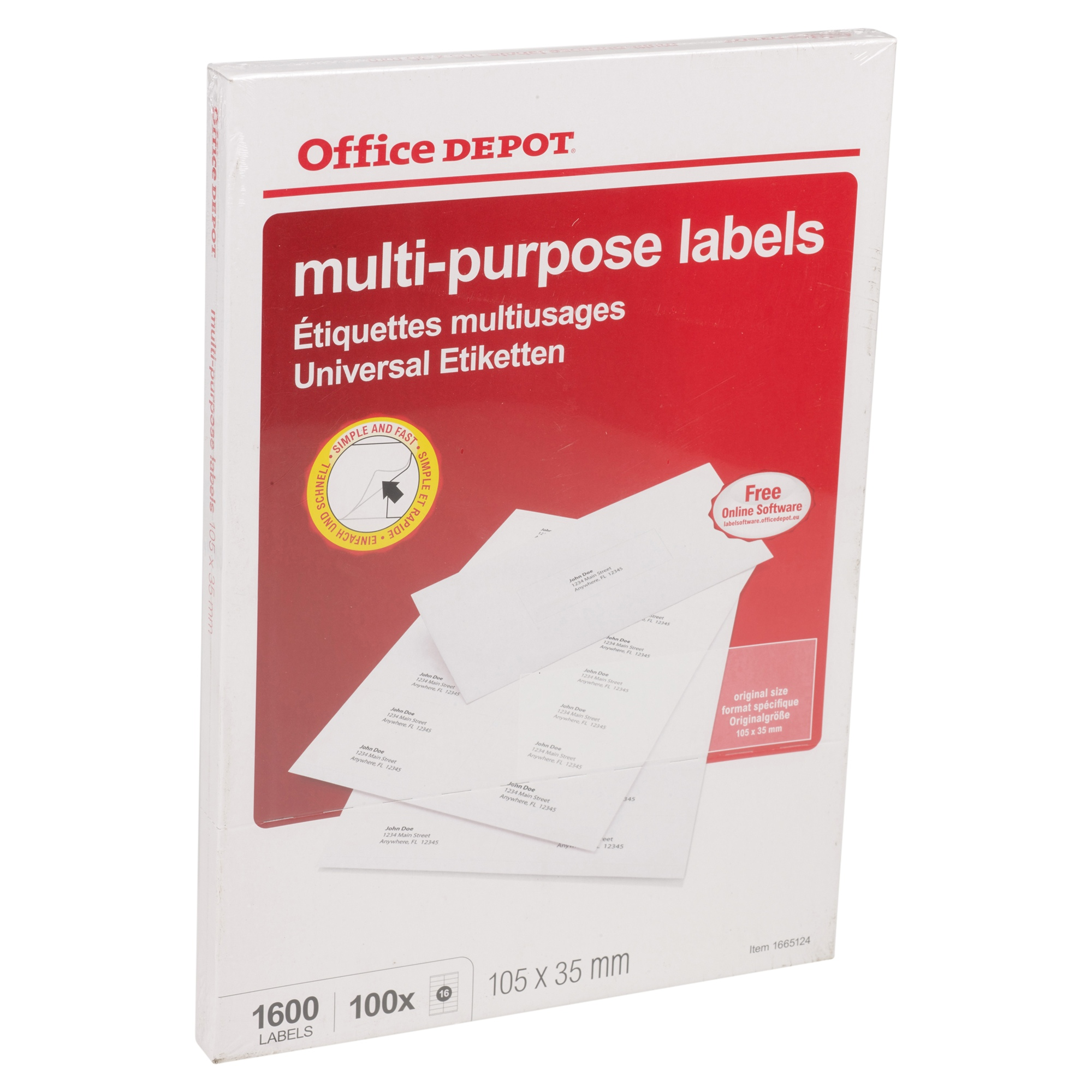 Office depot self adhesive white sticky address labels for for Office depot address label template