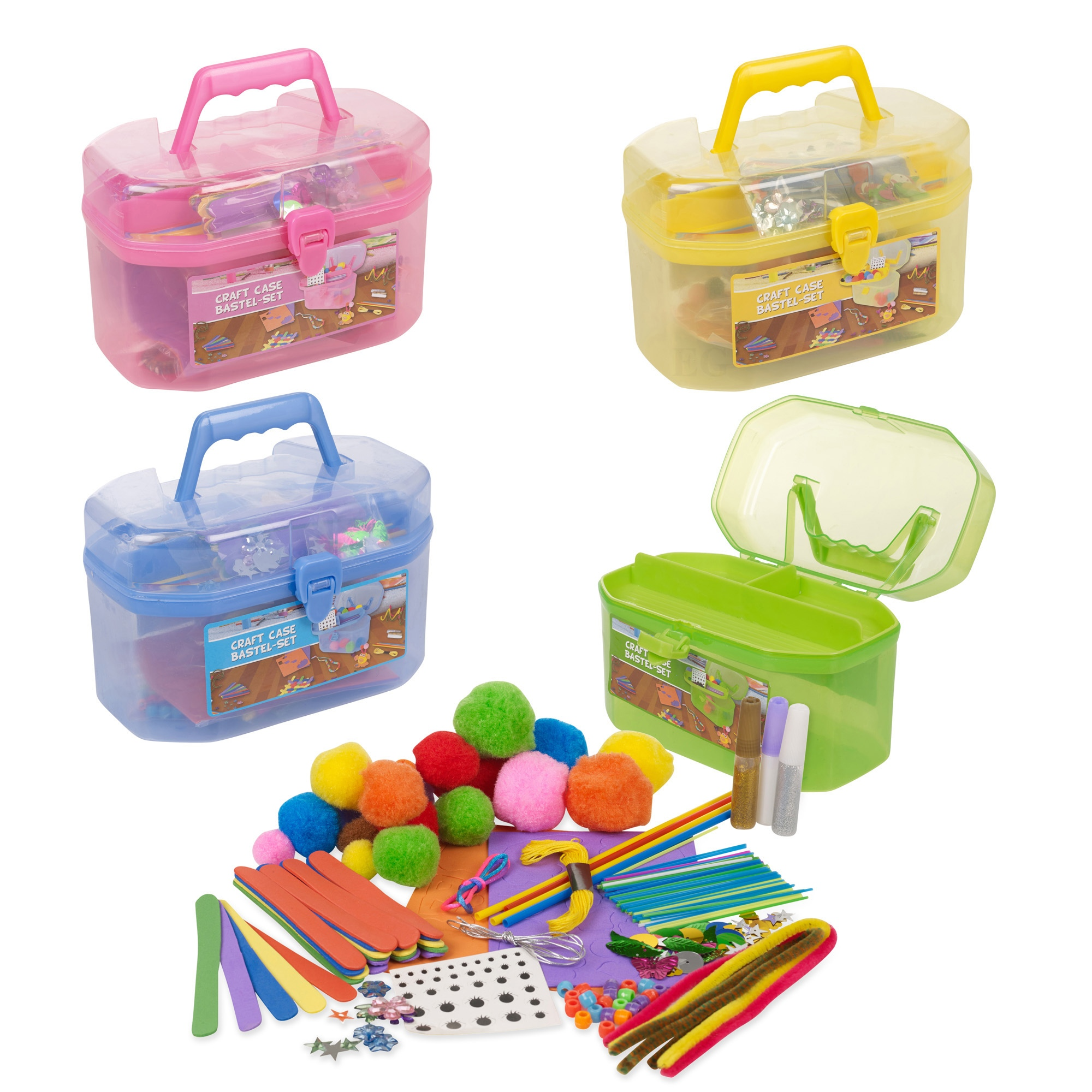 127 piece children 39 s arts craft set case carry handle for Arts and crafts sets for kids