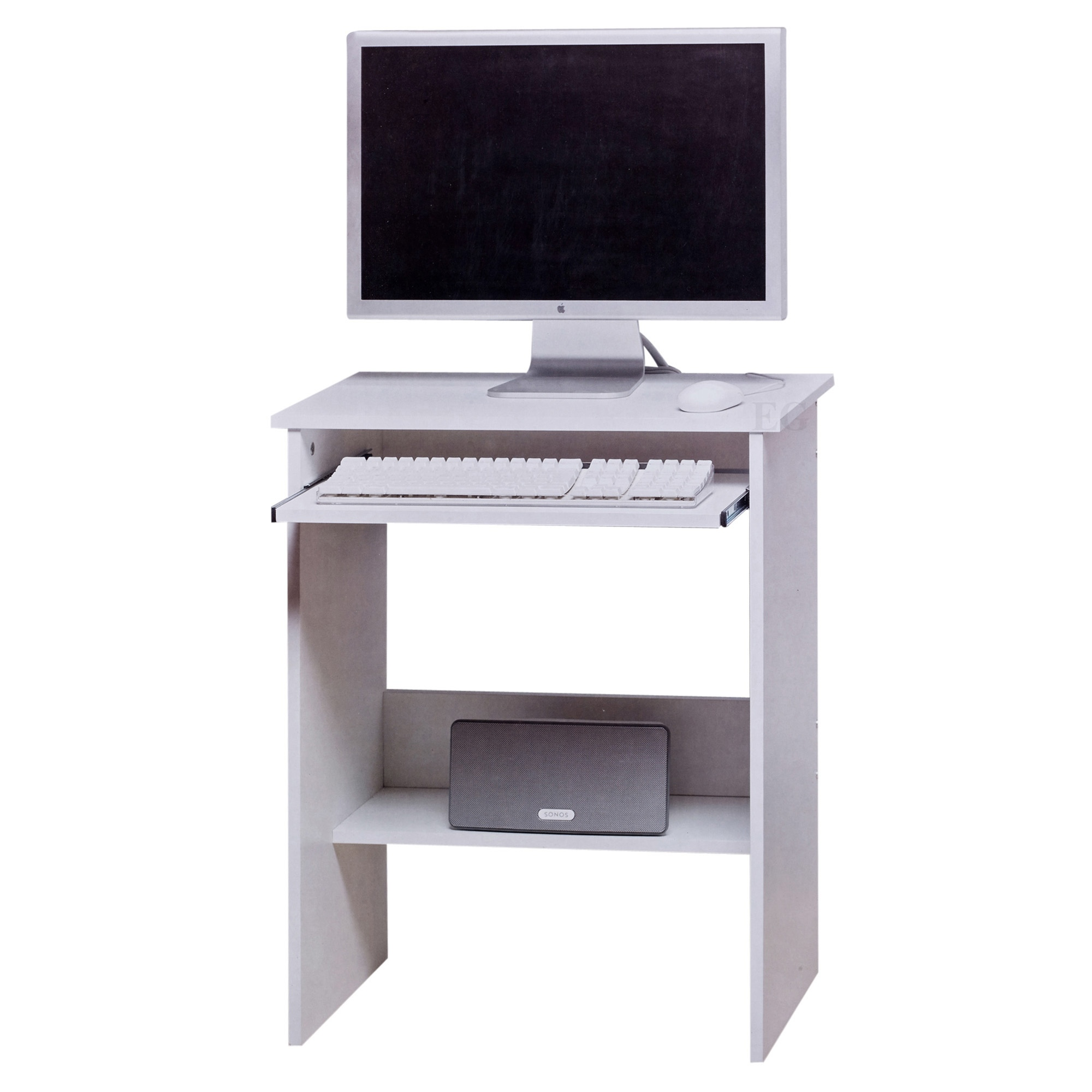White Wooden Computer Table Sliding Keyboard Shelf