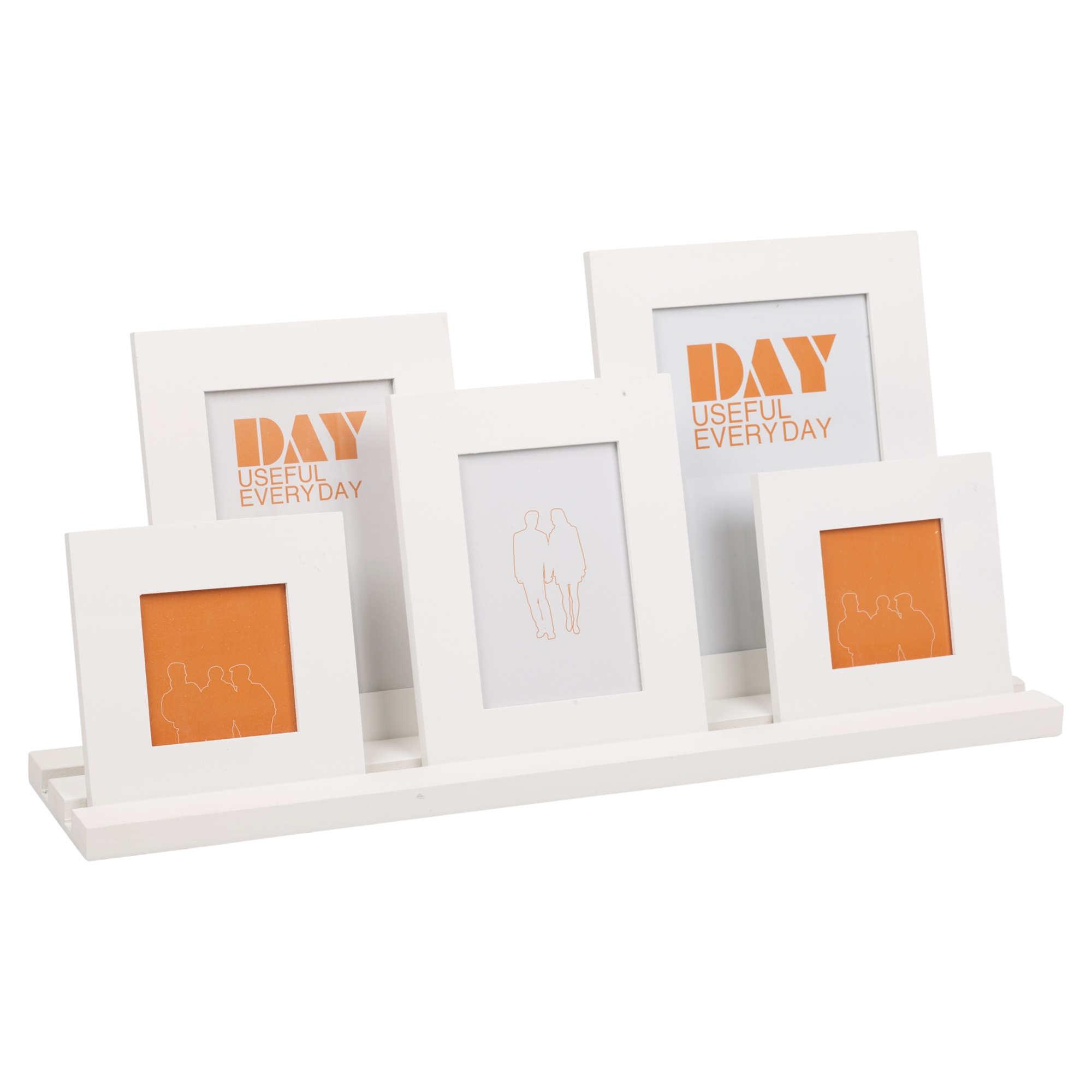 5 Photo Picture Frames & Wooden Holder Display Stand Multi Aperture ...