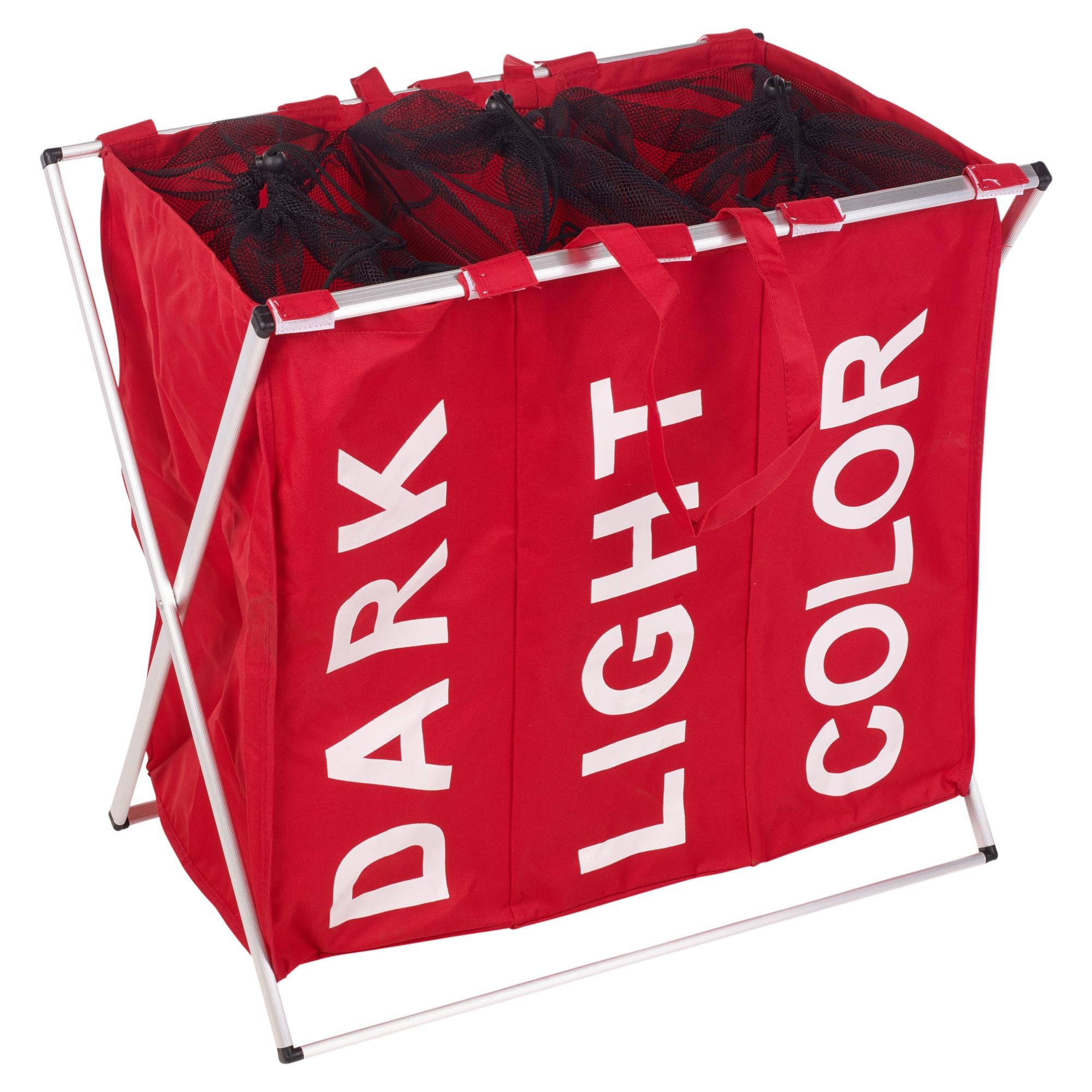 Large 3 section laundry washing clothes basket hamper sorter folding organiser ebay - Laundry basket lights darks colours ...
