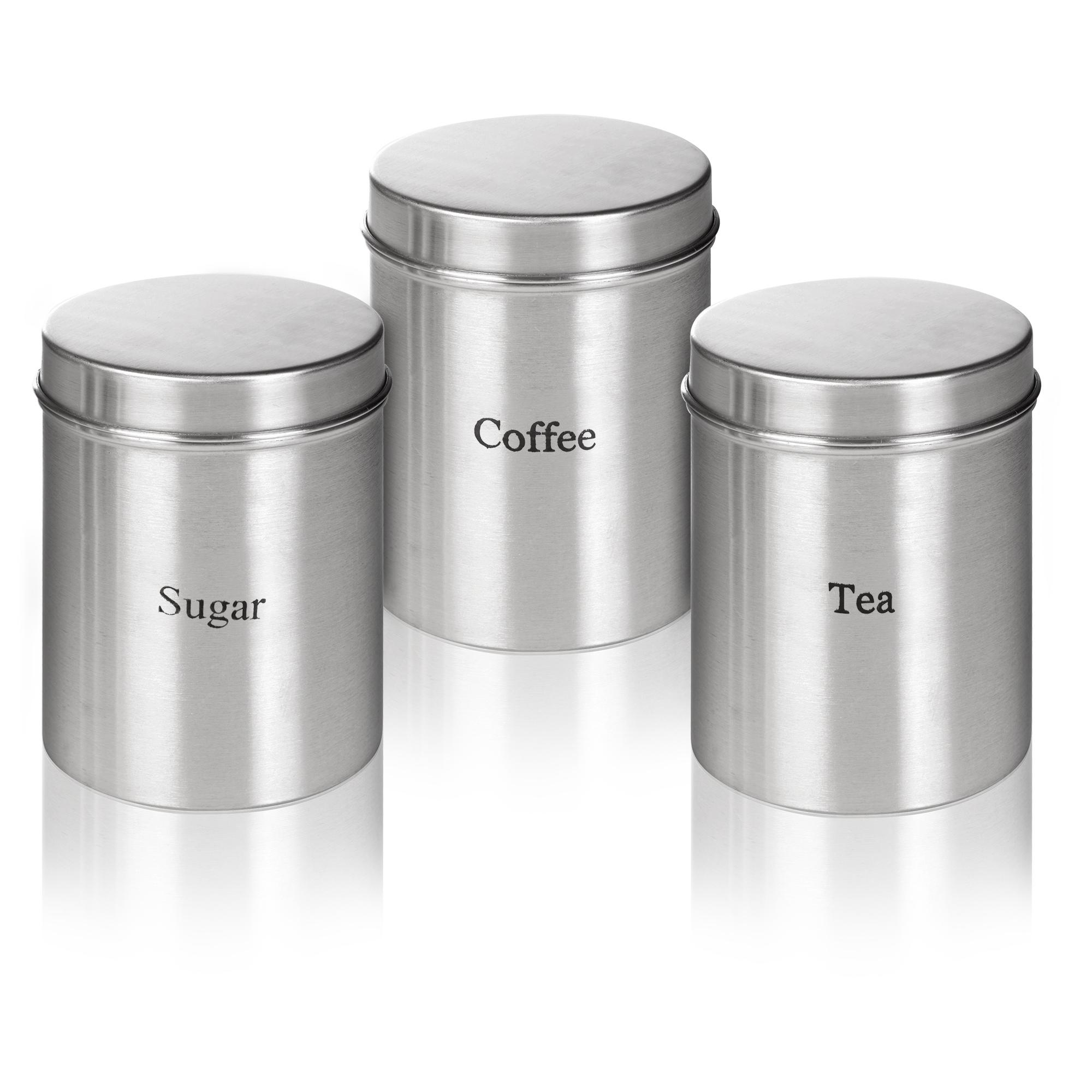 Kitchen Canister Set 3pc Stainless Steel Storage Jars Sugar Coffee Tea Kitchen