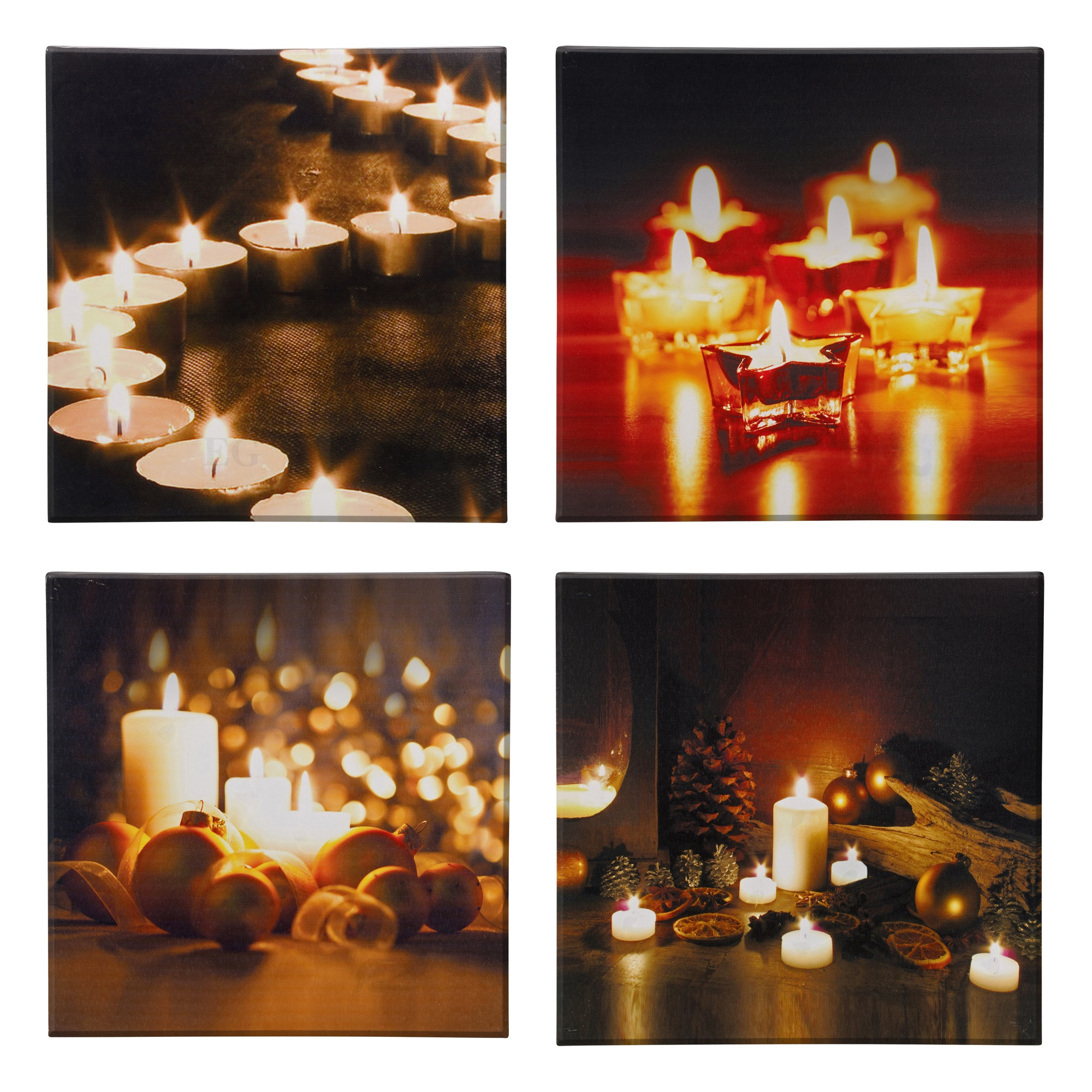 LED Light Flickering Candles Canvas Picture Flicker Wall Hanging Mounted Xmas eBay