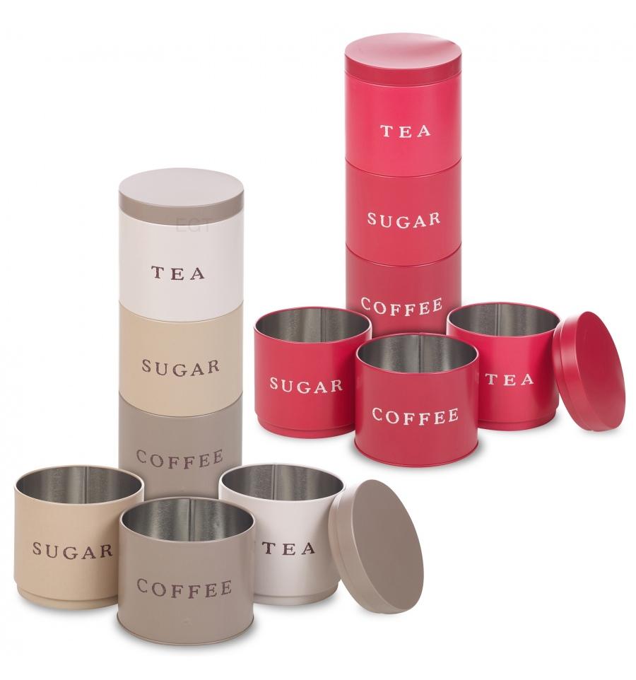3pc Stacking Tea Coffee Sugar Tins 991733