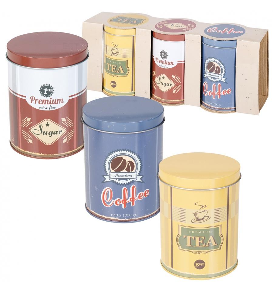3pc Metal Tea Coffee Sugar Storage Tin 217265