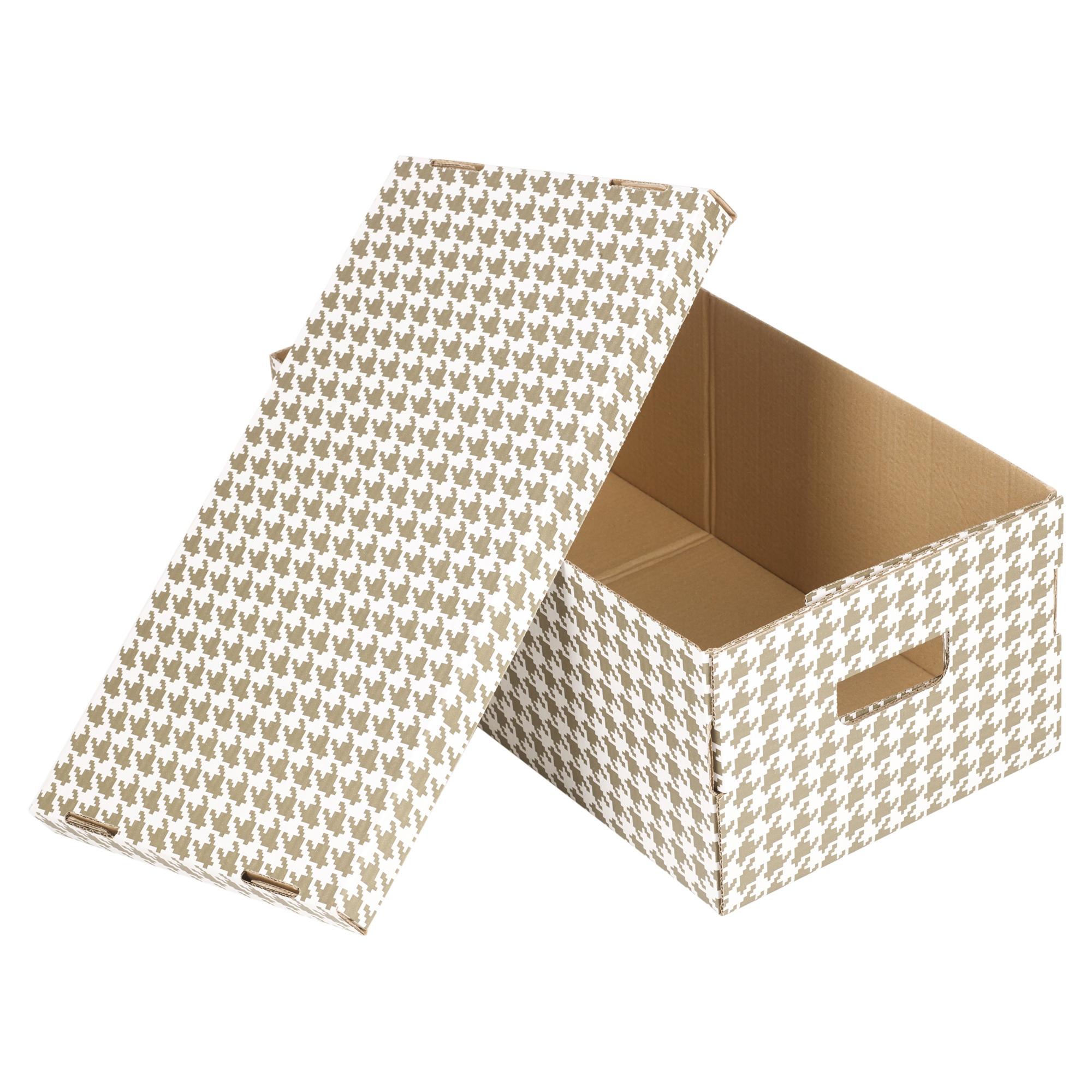 set of 2 3 or 4 cardboard storage boxes with lids. Black Bedroom Furniture Sets. Home Design Ideas