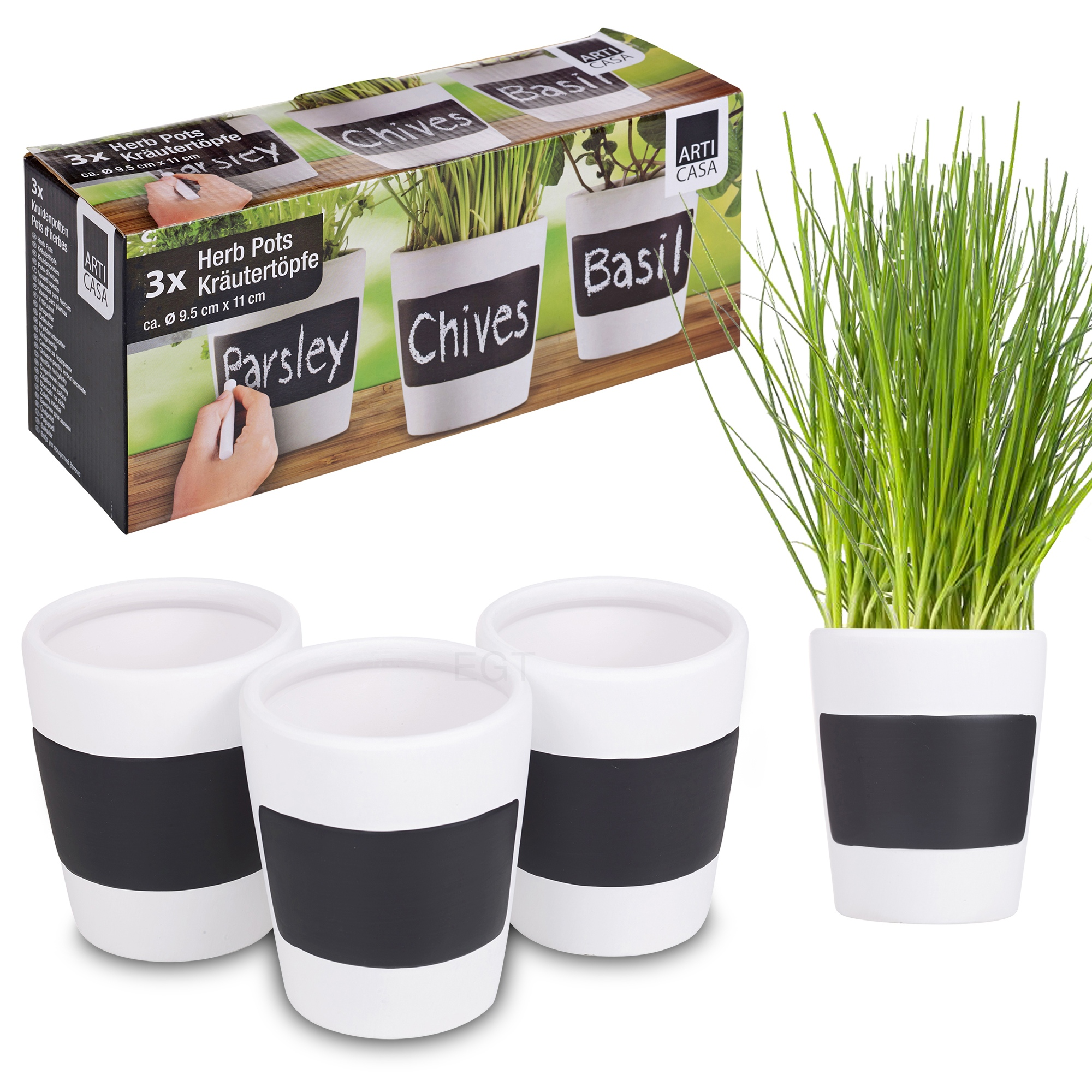 Kitchen Garden Planter 3 X Ceramic Herb Plant Pots Chalk Board Home Kitchen Garden