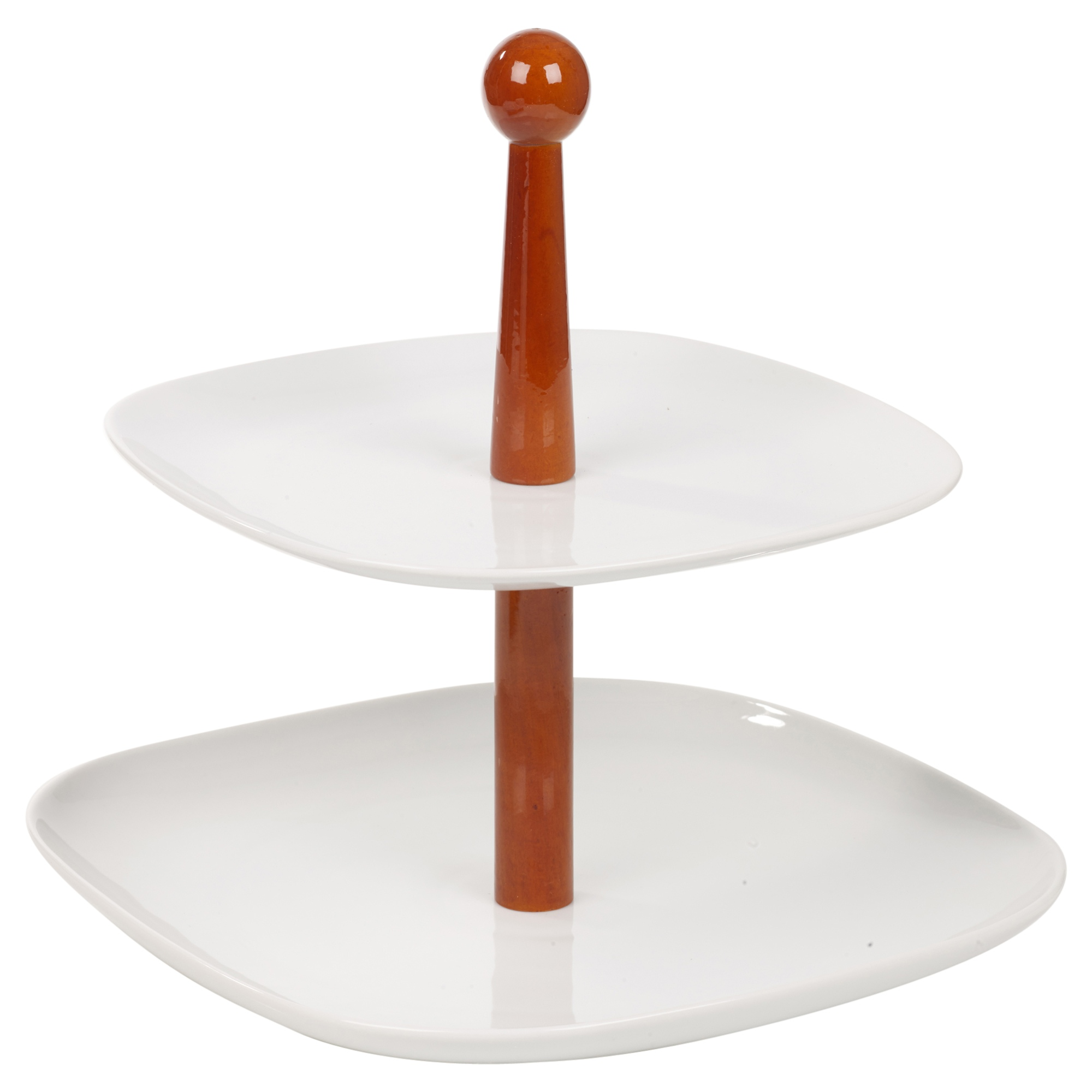 2 layer tier ceramic wooden serving display cakes platter for Canape display stands