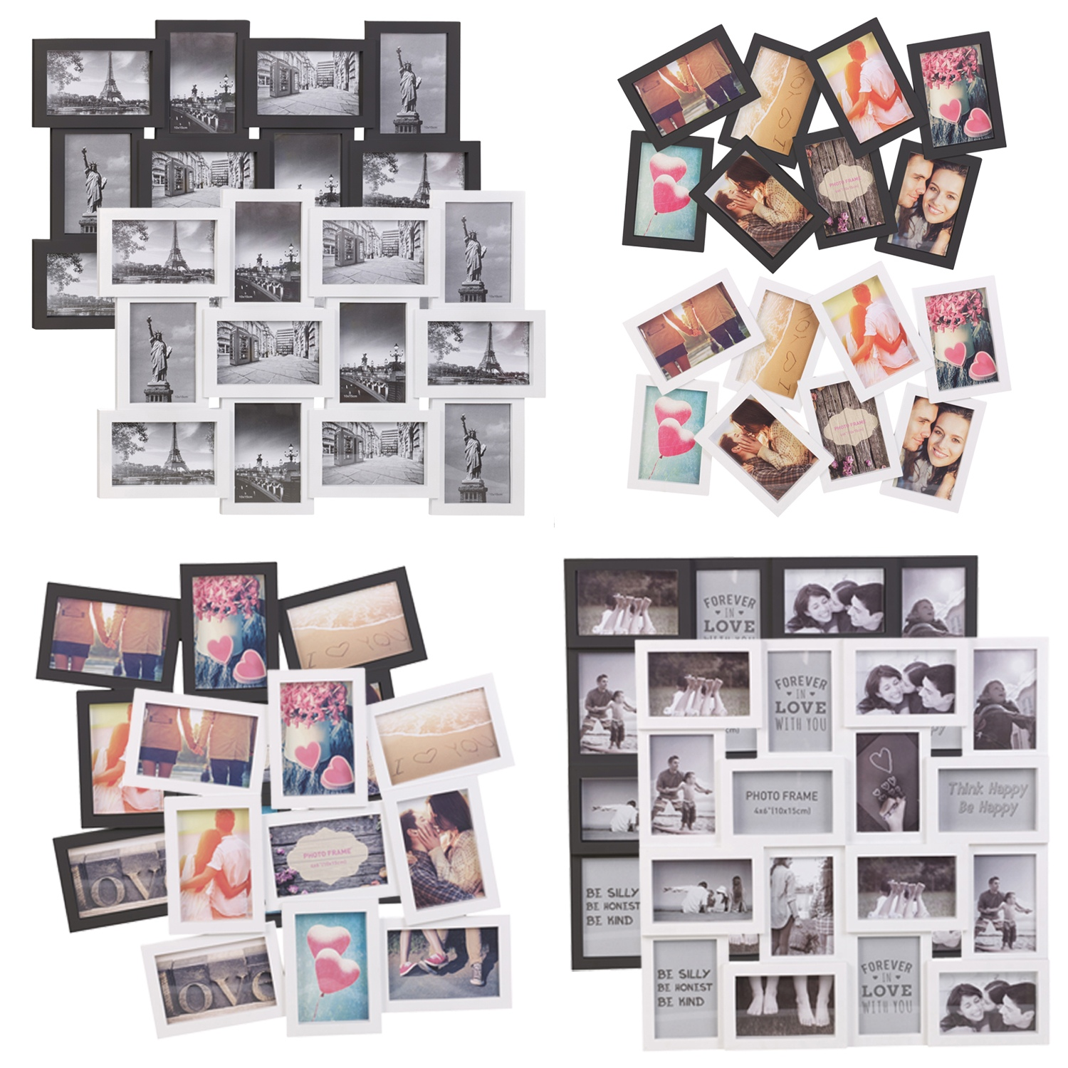 8 12 16 photos large multi picture photo frame collage aperture wall decoration ebay. Black Bedroom Furniture Sets. Home Design Ideas
