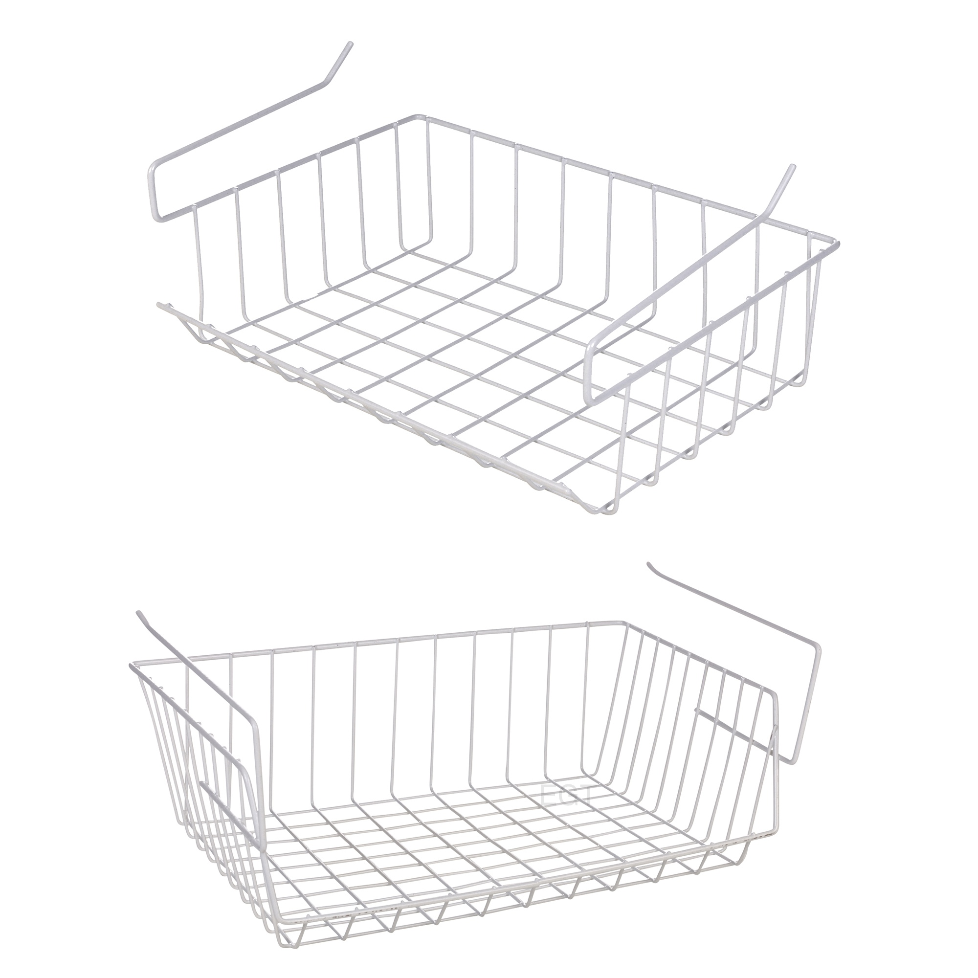 White Under Shelf Table Storage Basket Rack Kitchen Wire