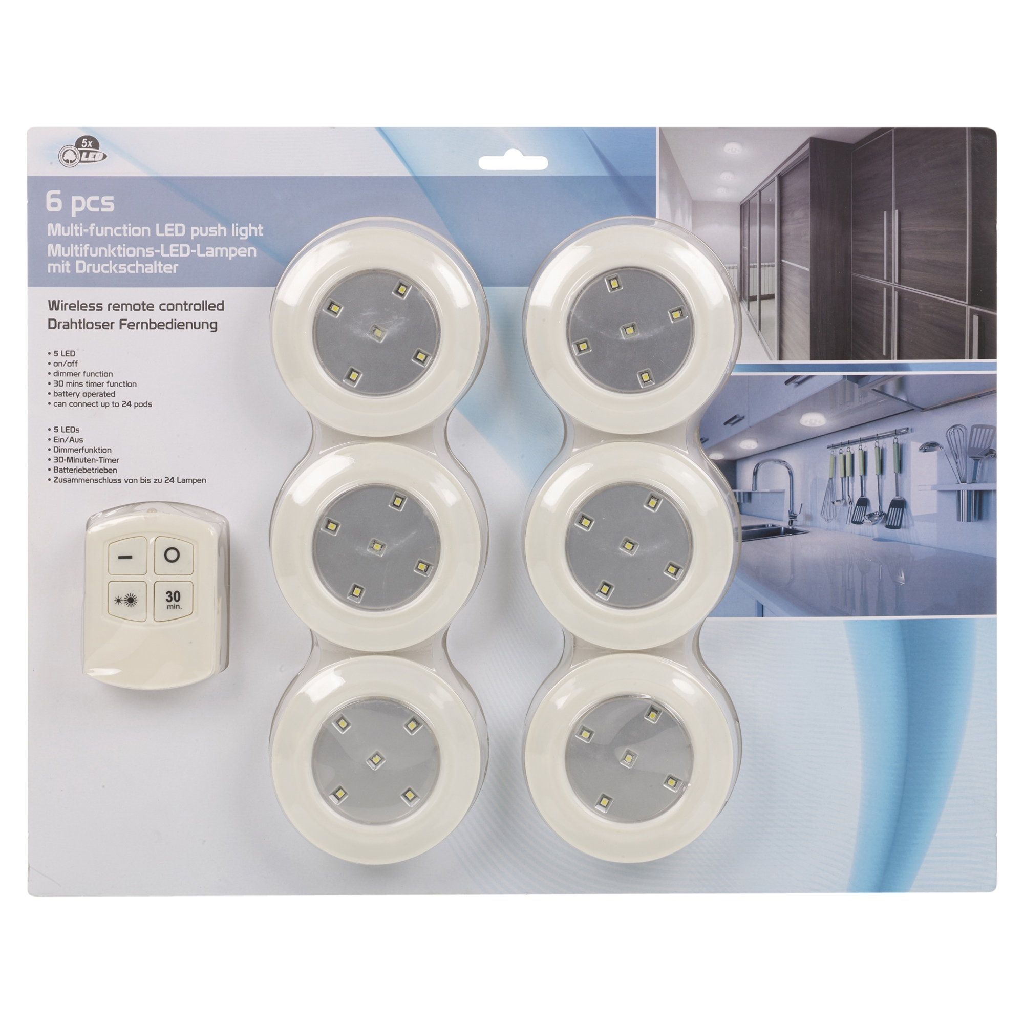 6 Remote Control Wall Ceiling Wireless Round Led Lights Kitchen