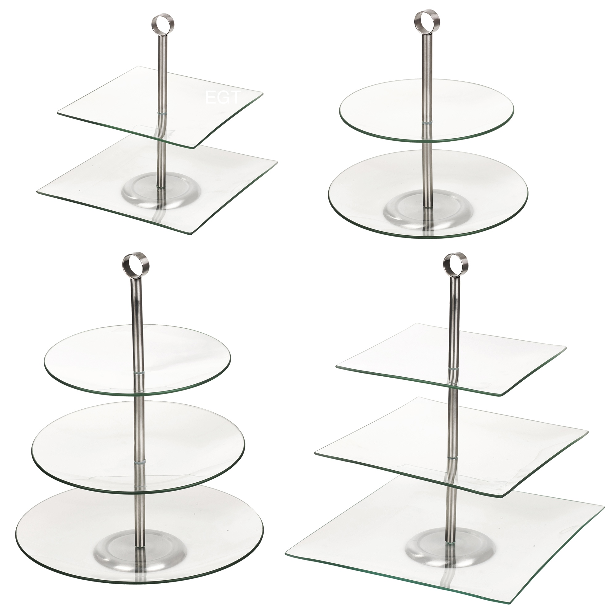 2 3 tiered glass round square serving display cakes food for Canape display stands
