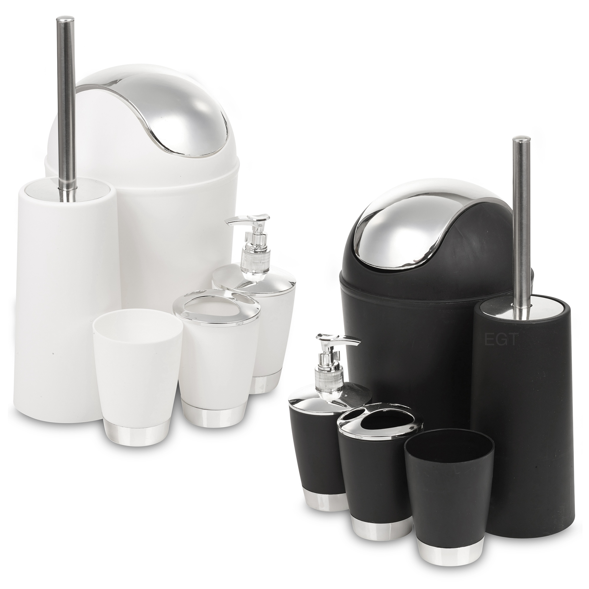 5 piece bathroom matching accessory set black white for Matching bathroom accessories sets