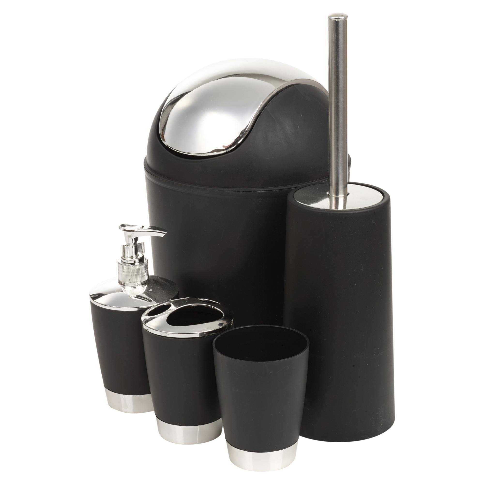 5pc black white match bathroom accessories set soap dish for Black bathroom bin and toilet brush