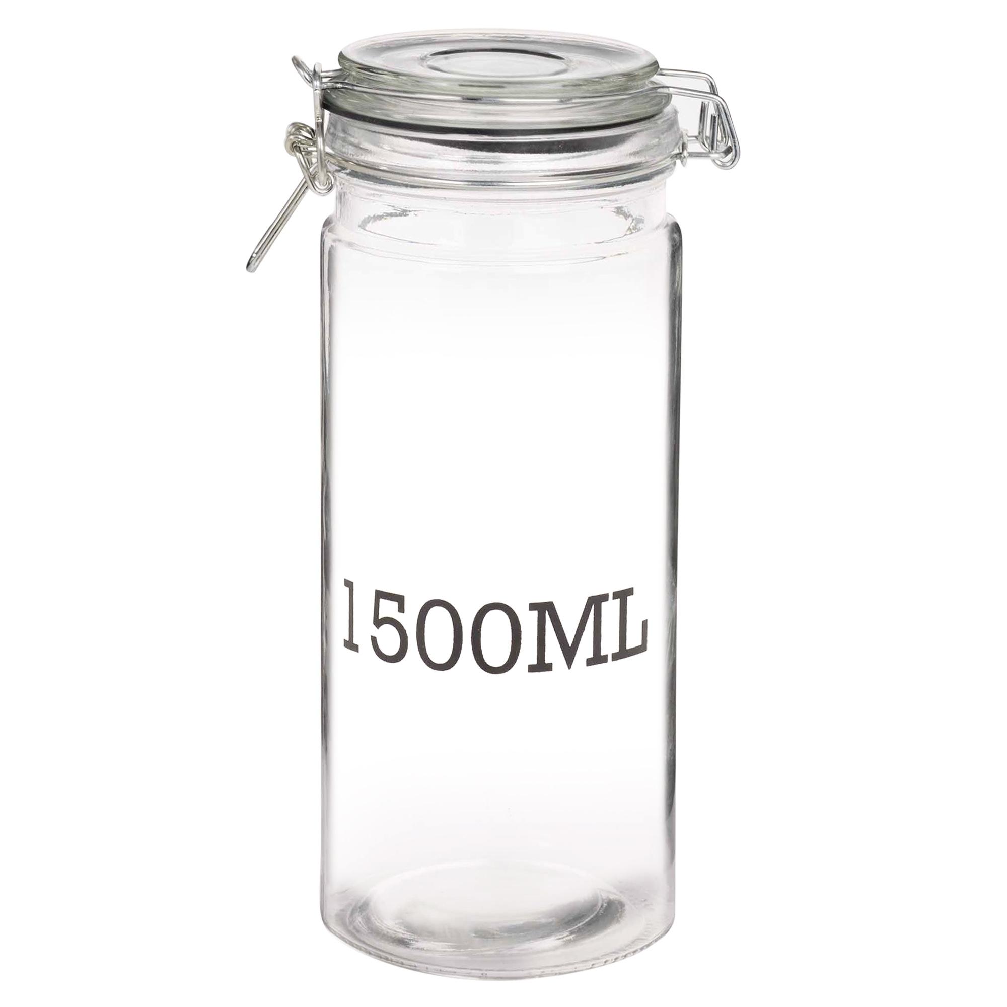 large glass storage jar with air tight sealed metal clamp lid tall kitchen cruet ebay. Black Bedroom Furniture Sets. Home Design Ideas