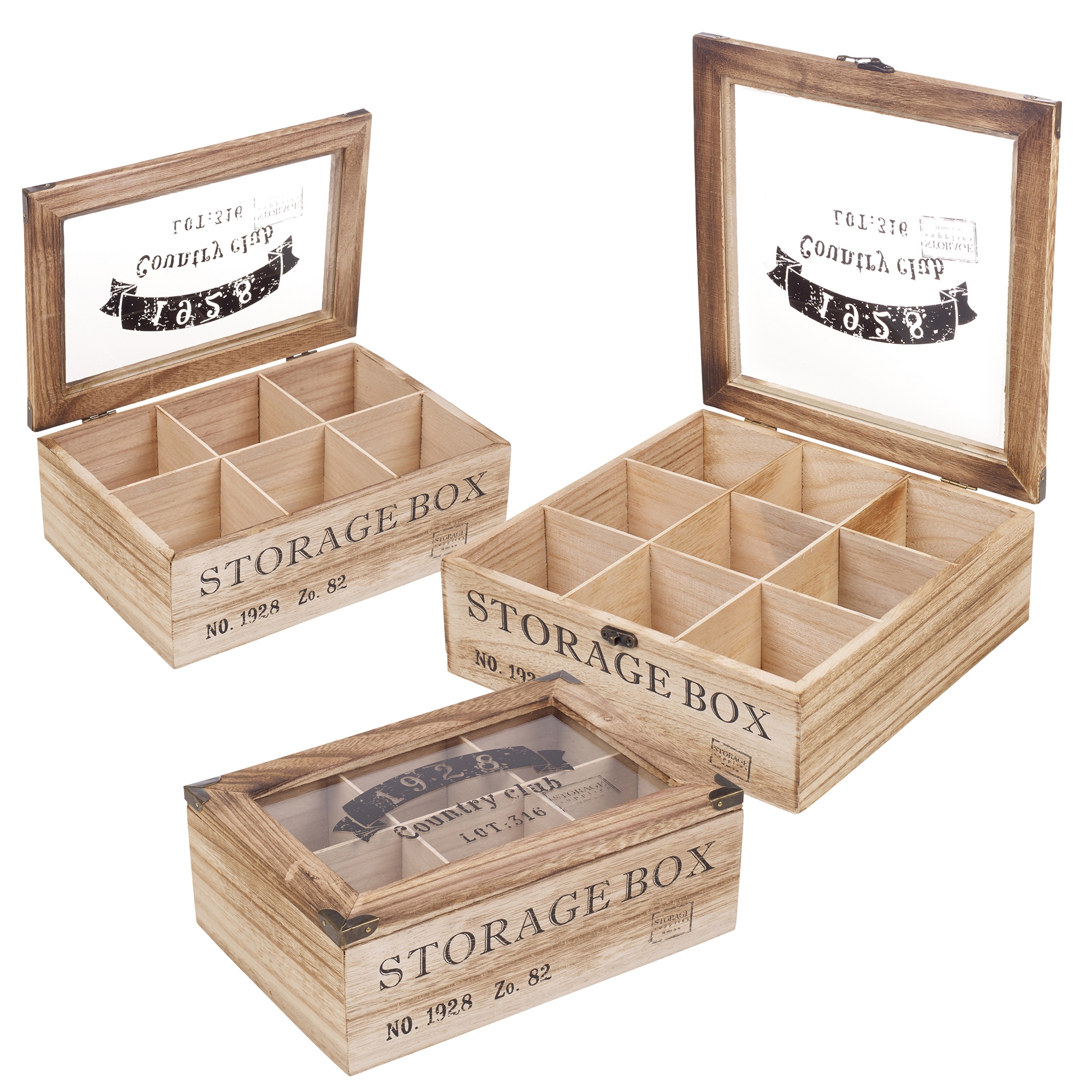 wooden tea box 6 or 9 section compartments glass lid multi storage spice chest ebay. Black Bedroom Furniture Sets. Home Design Ideas