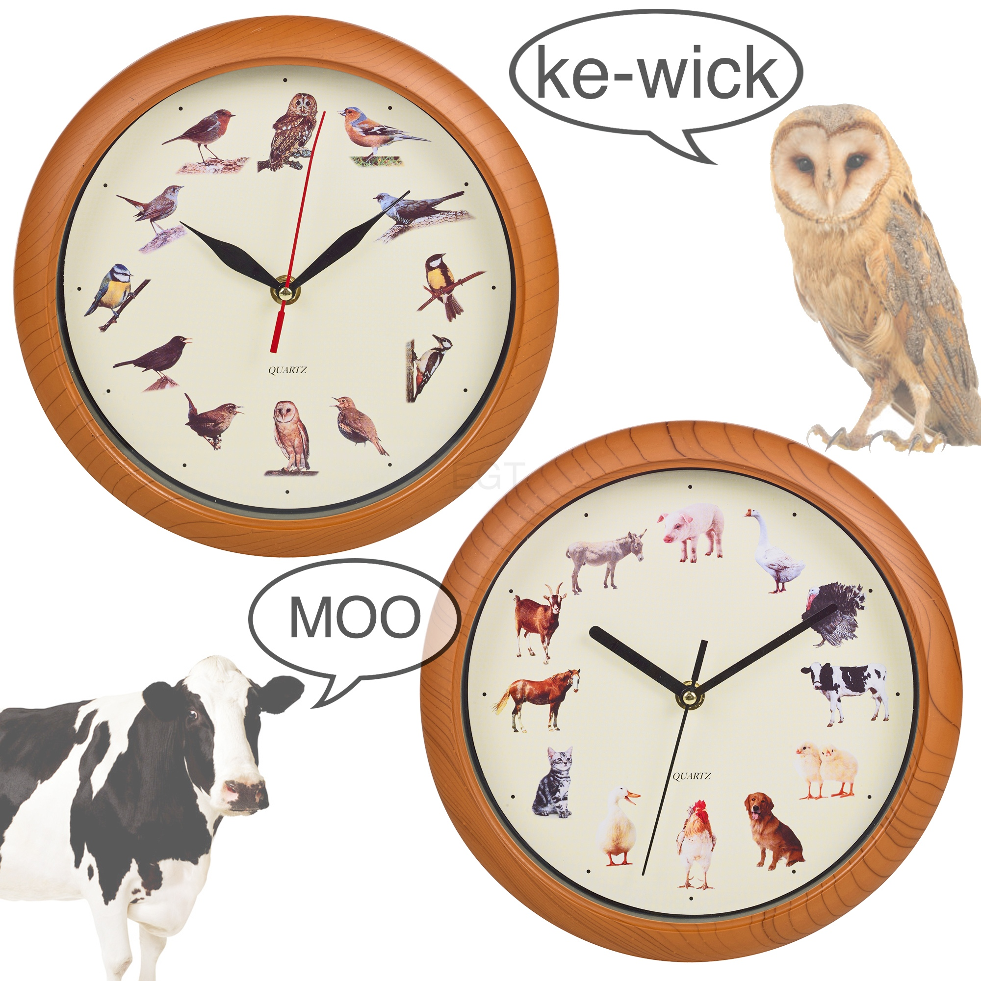 Yard Animal Print Wall Clock Musical Sounds Battery