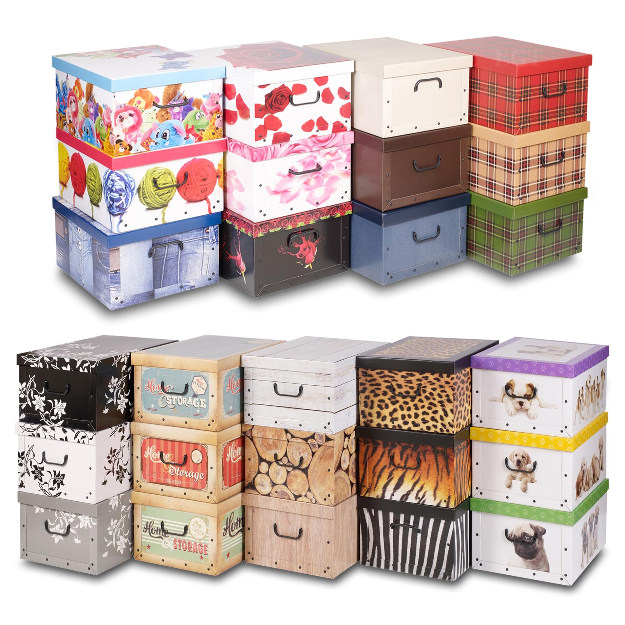 3 underbed collapsible cardboard storage boxes lightweight with lids handles ebay. Black Bedroom Furniture Sets. Home Design Ideas