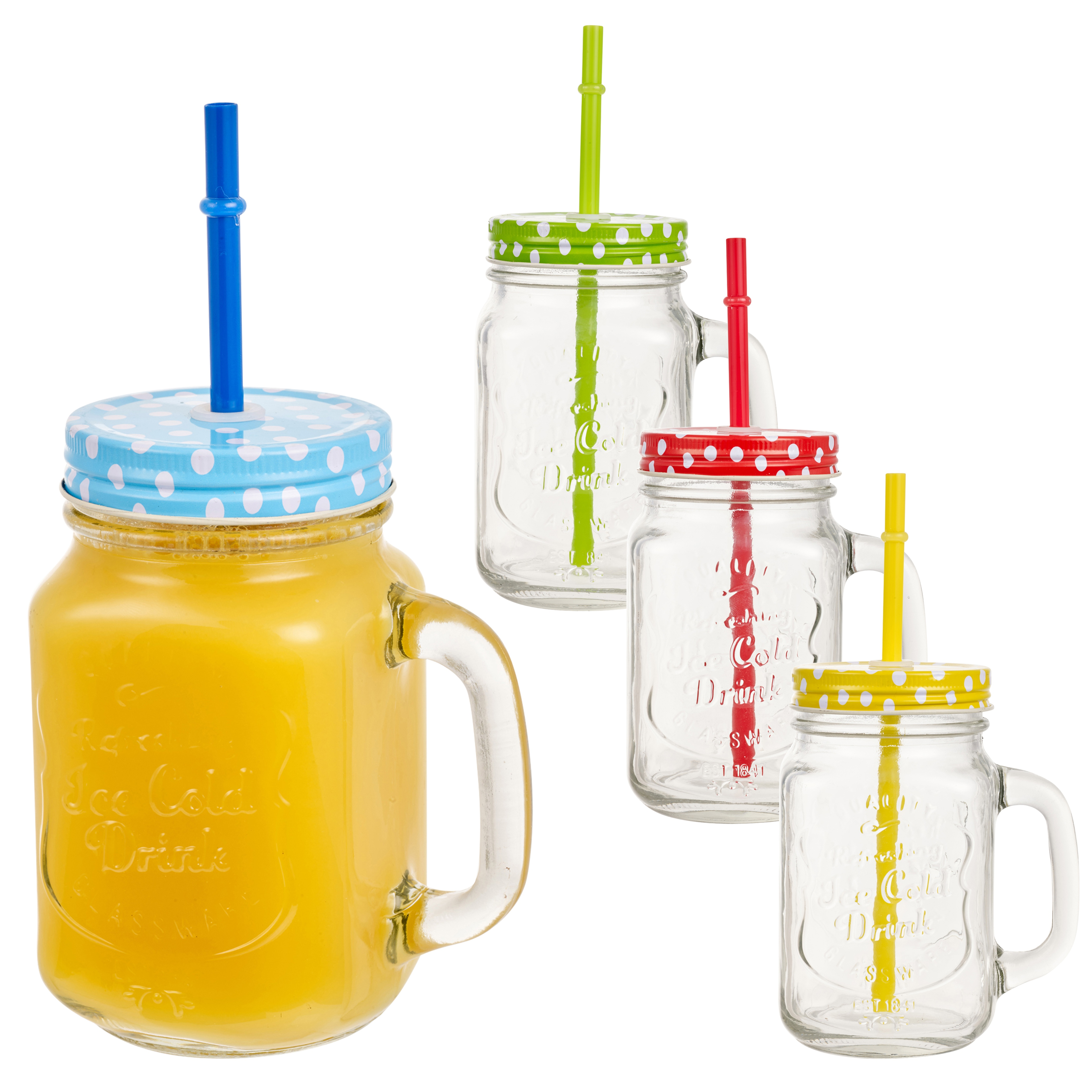 Green Glass Jug With Yellow Plastic