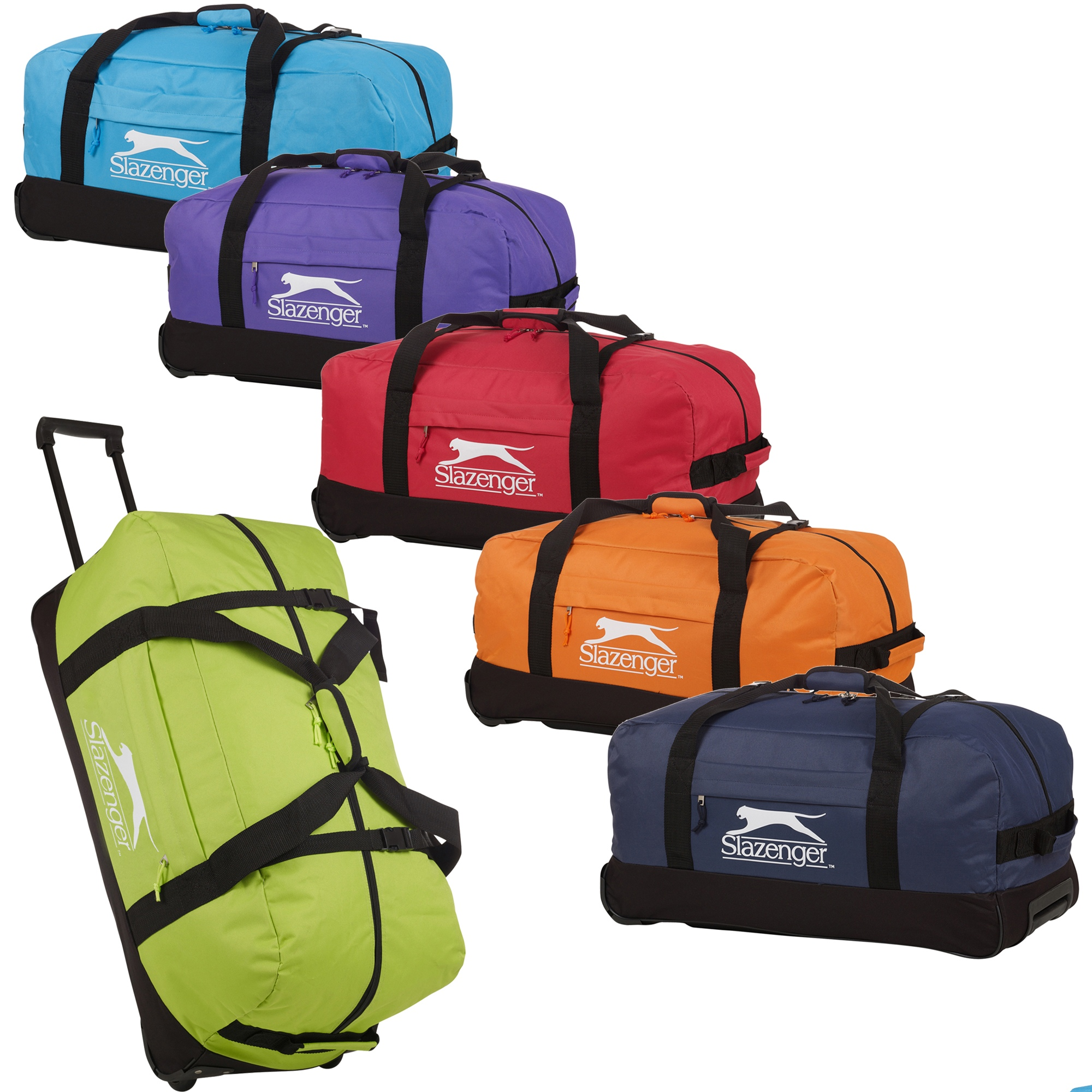 d1e33517ff3 Details about Slazenger Trolley Sports Travel Bag Handle Wheels Luggage  Carry Gym Suitcase New