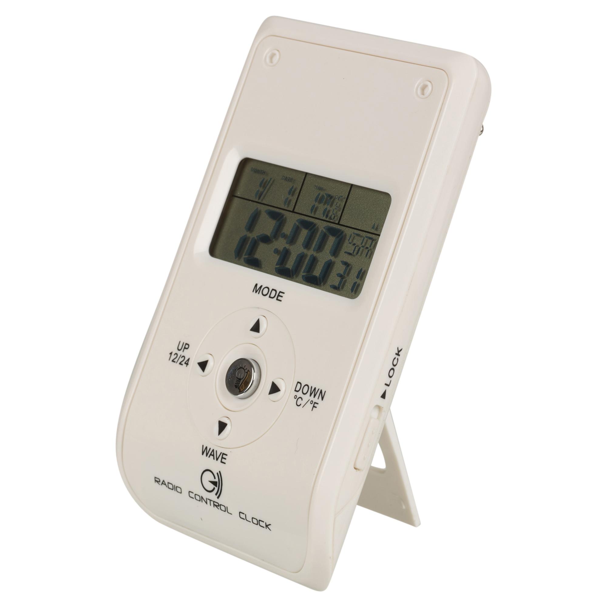 radio controlled white travel bedside digital alarm clock. Black Bedroom Furniture Sets. Home Design Ideas