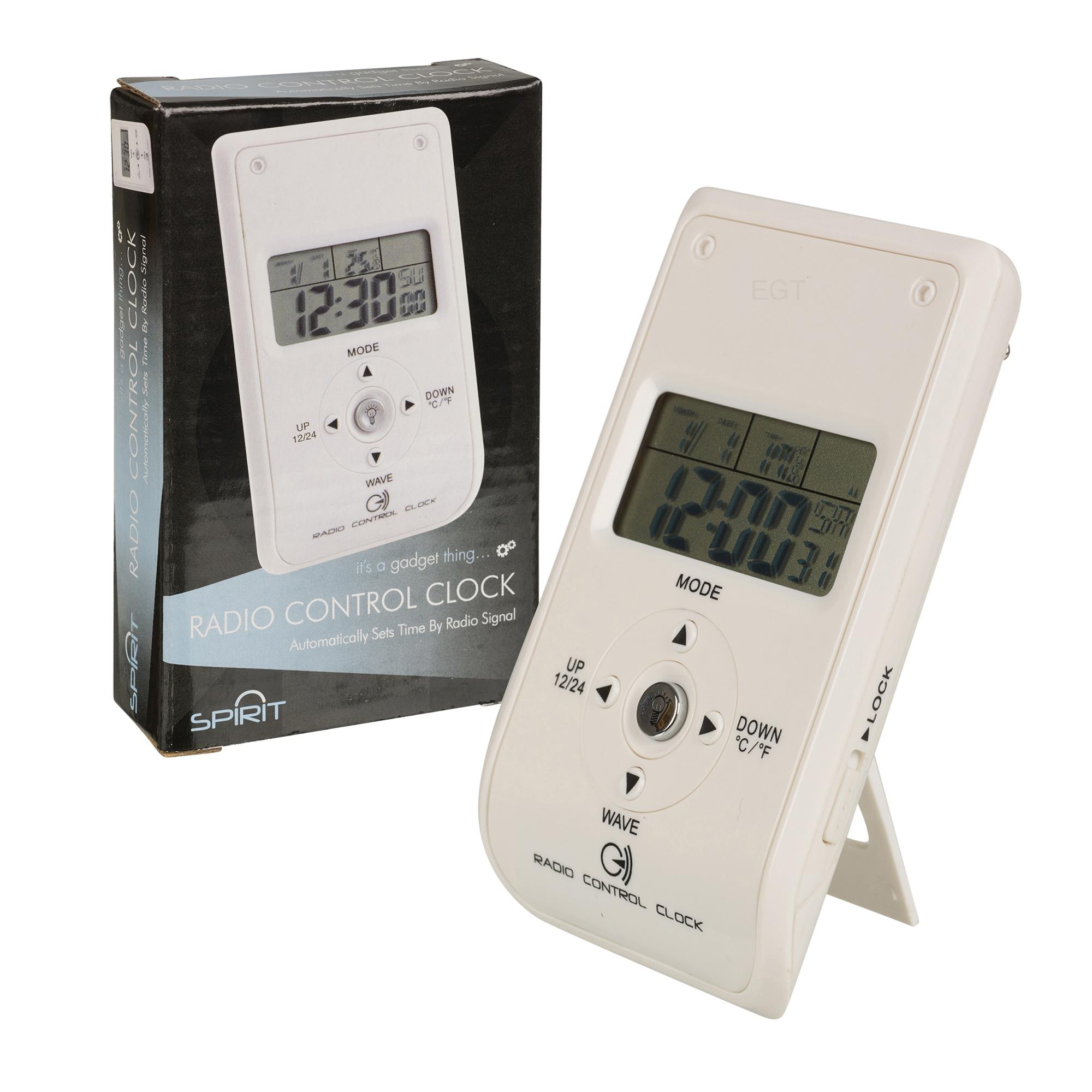 radio controlled white travel bedside digital alarm clock coloured backlight new. Black Bedroom Furniture Sets. Home Design Ideas