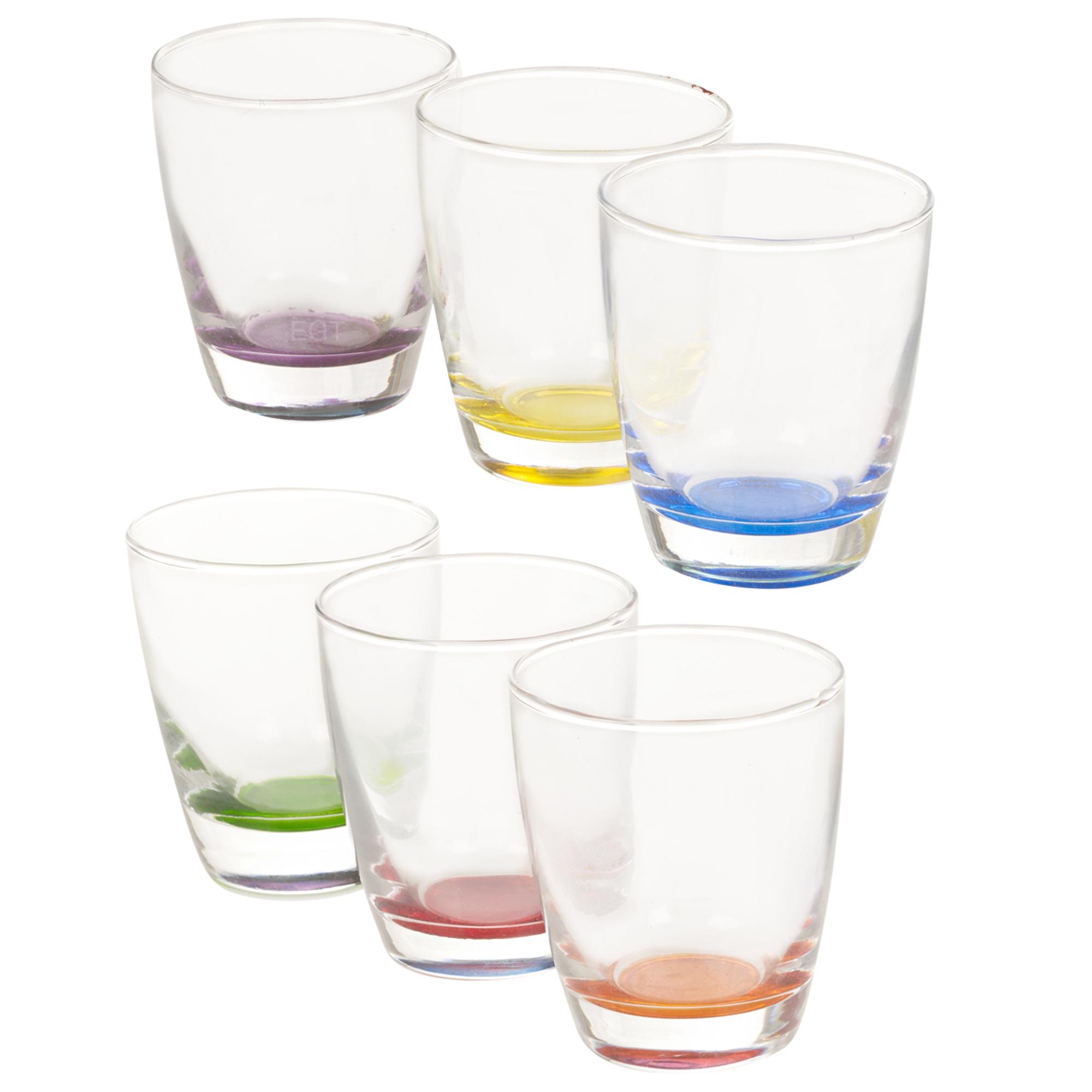 Set of 6 Coloured Base Tumblers Drinking Glass Glasses  : 6pc multicoloured drinking cup set 996233  from www.ebay.co.uk size 2000 x 2000 jpeg 315kB
