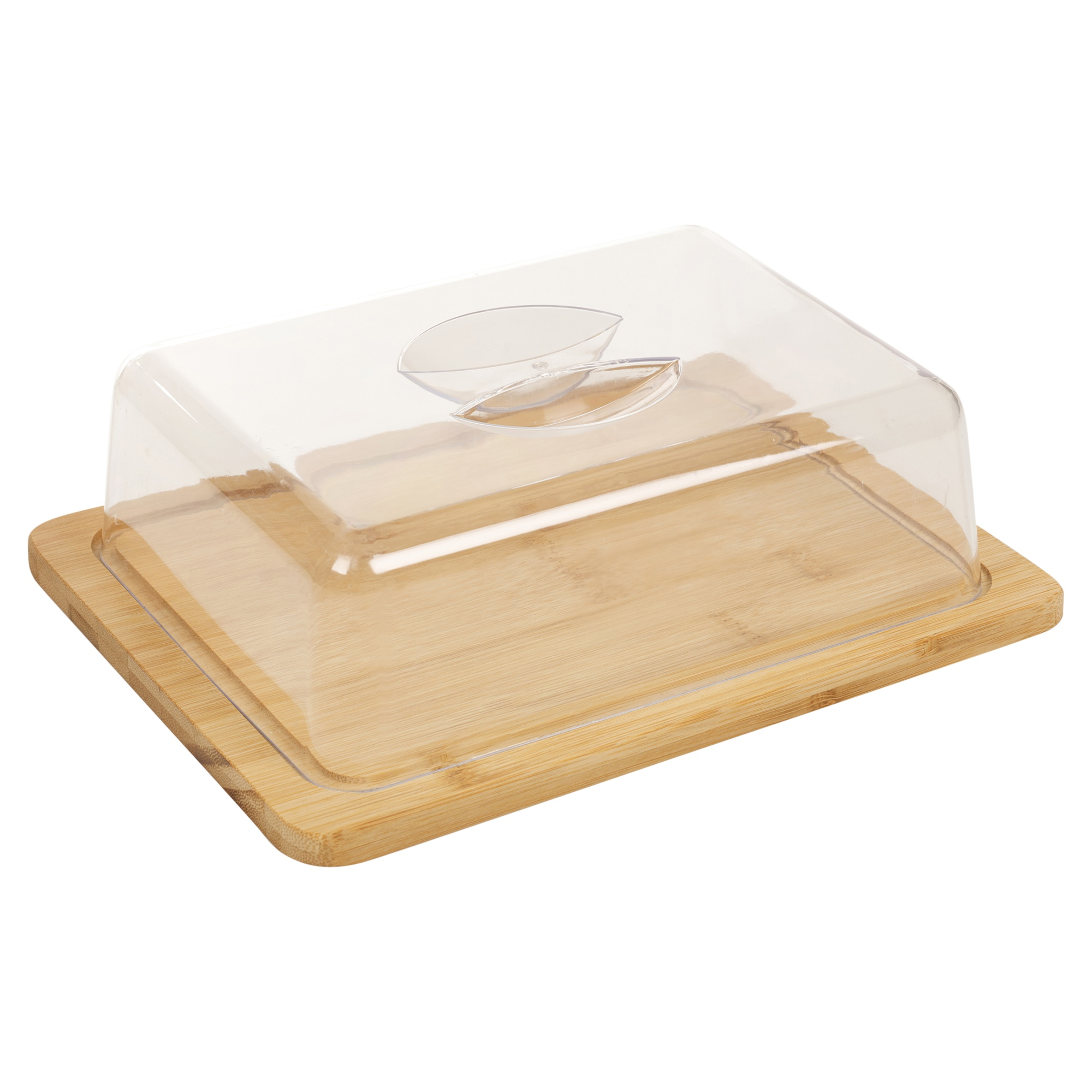 Bamboo Cheese Board & Acrylic Cover Serving Platter Tray ...