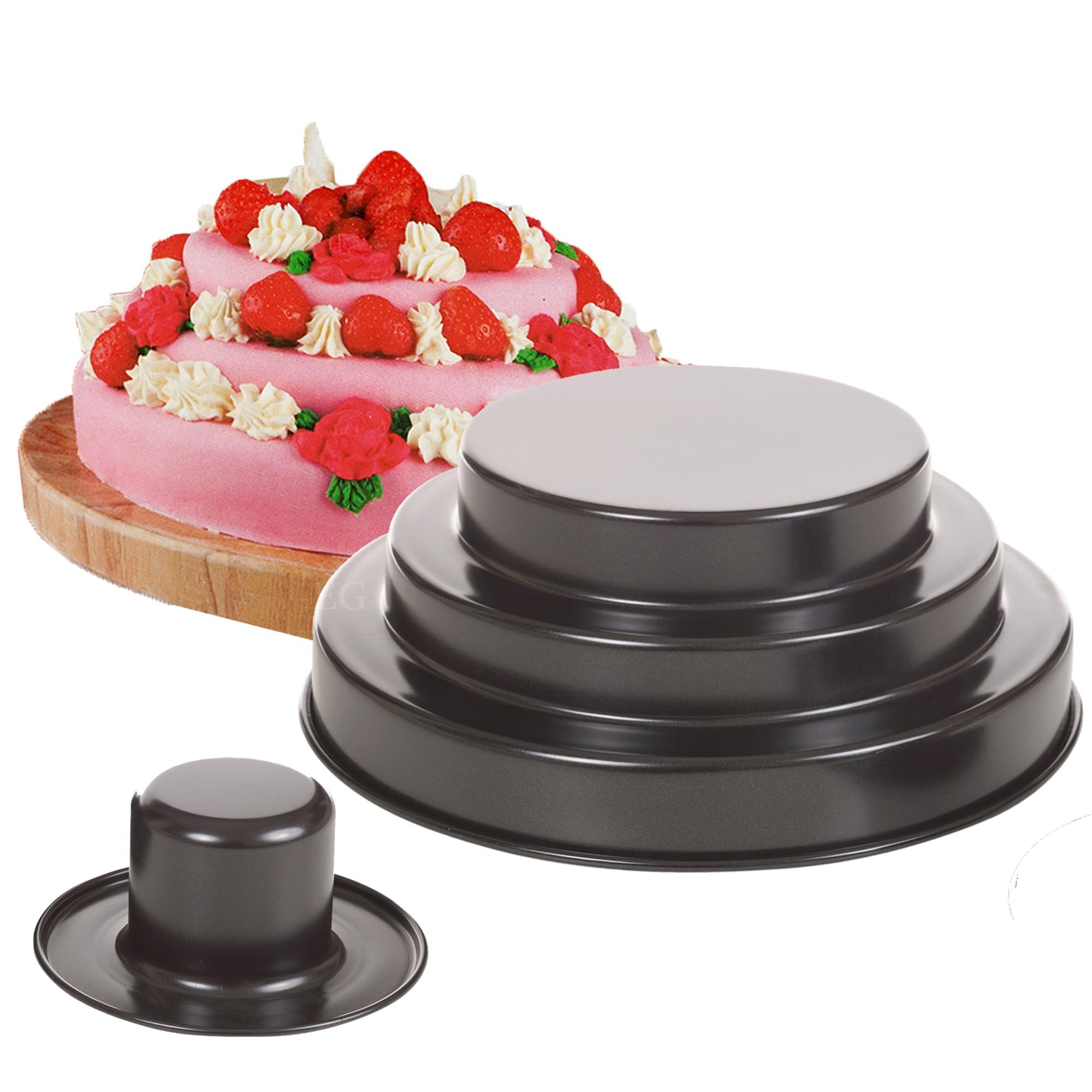 3 tier layered birthday wedding cake non stick mould cake pan deep baking tin ebay. Black Bedroom Furniture Sets. Home Design Ideas