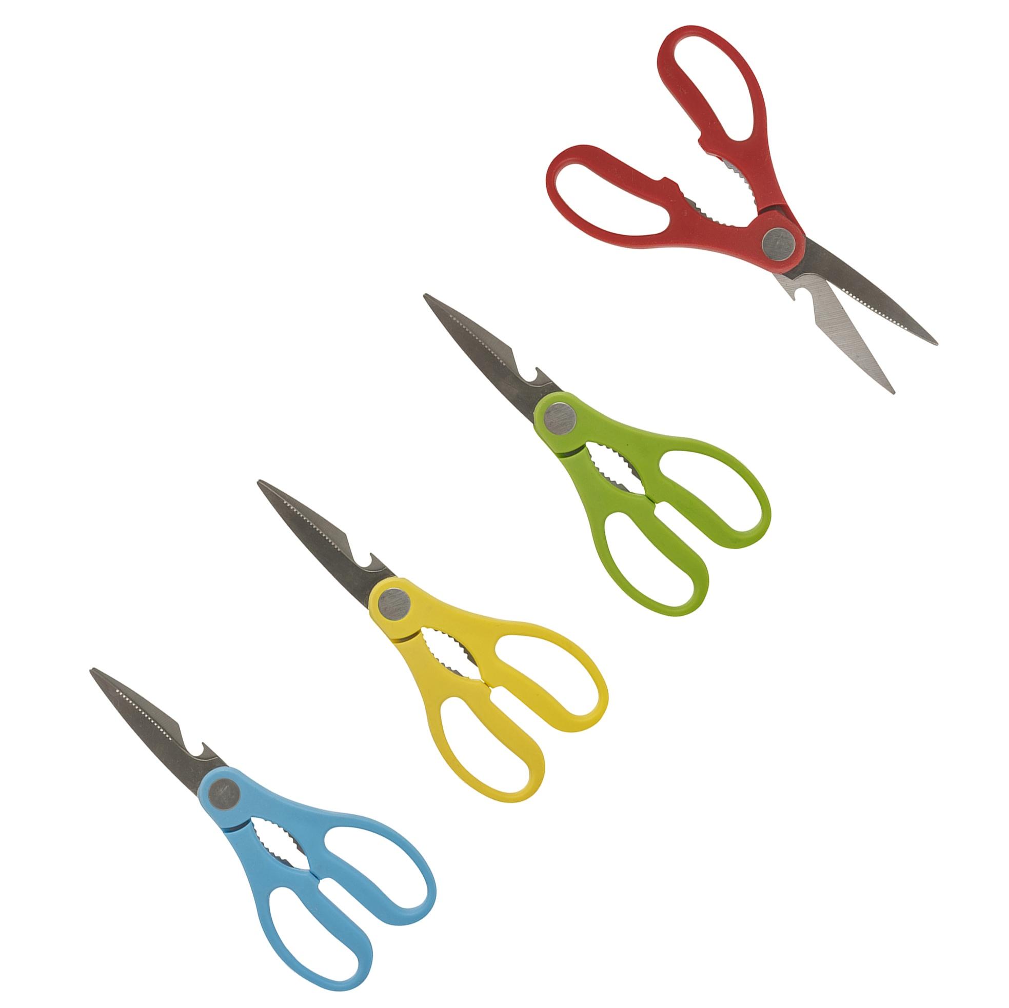 right or left handed stainless steel kitchen multi tool scissors bottle opener ebay. Black Bedroom Furniture Sets. Home Design Ideas