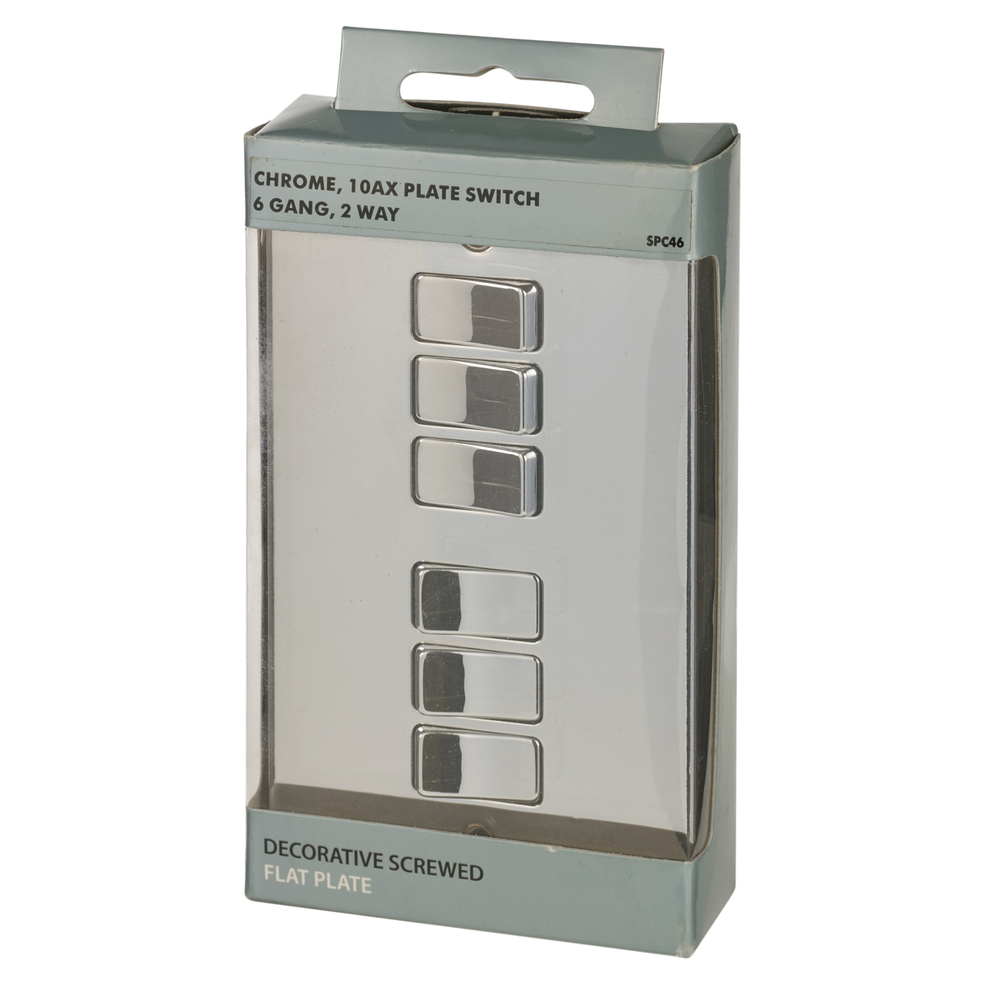 British General Polished Chrome 10 Amp 6 Gang 2 Way Light Switch ...