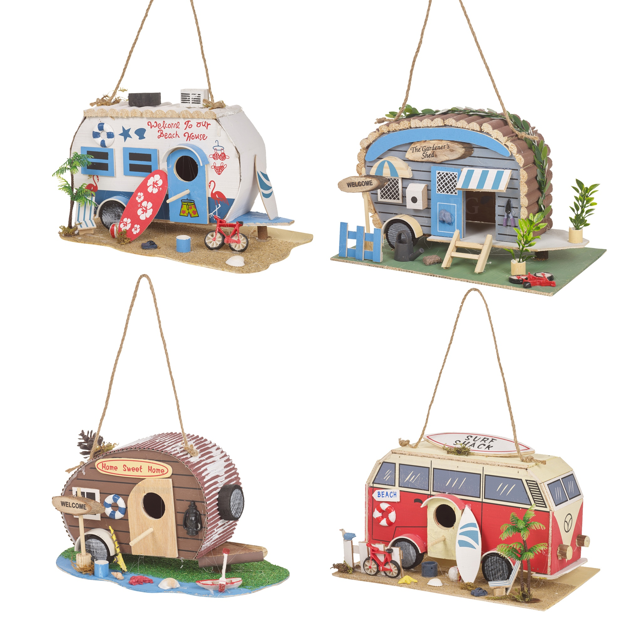 Garden Camper Van Bird House Feeder Ornament Feeding Table Hanging  Decorative | EBay
