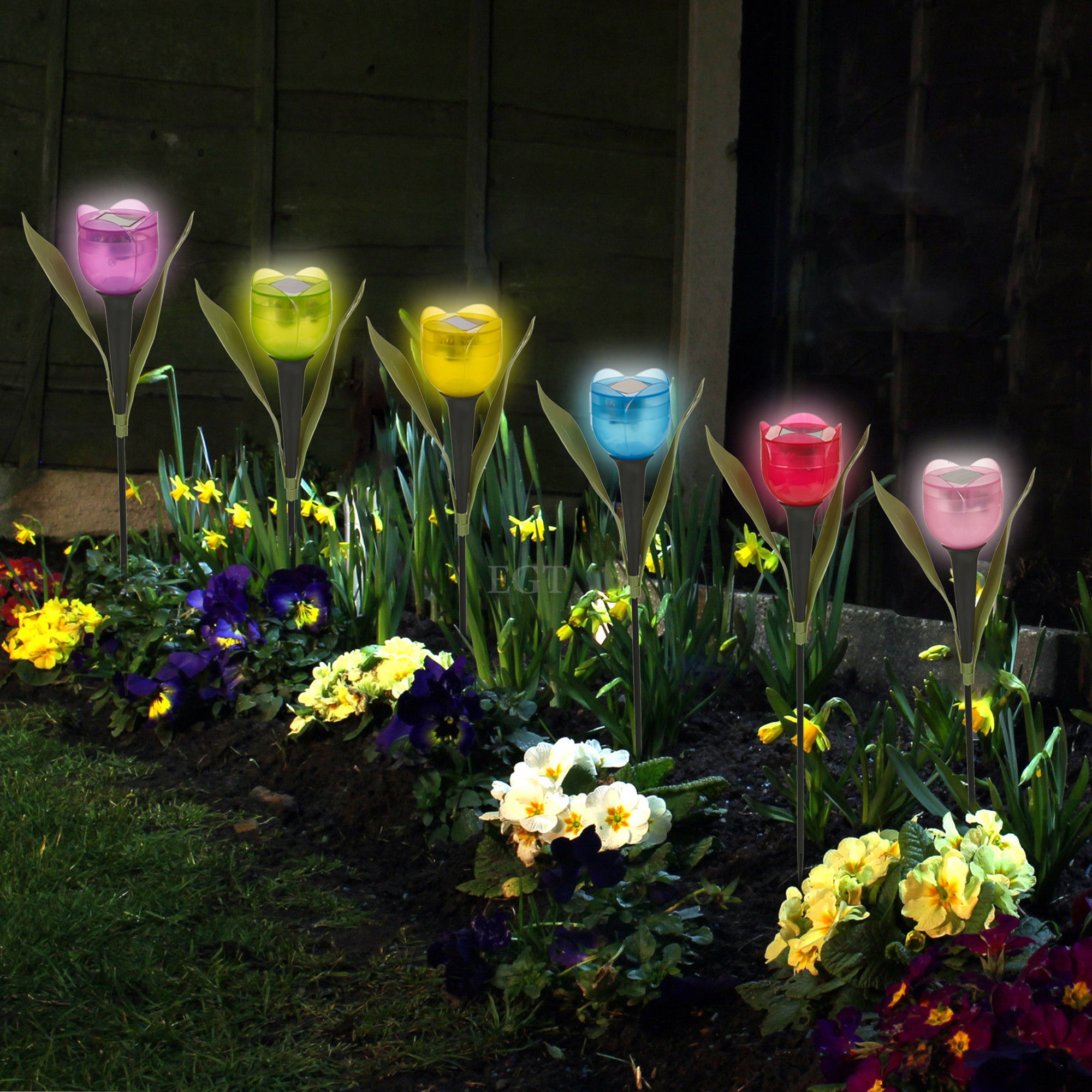 garden tulip flower shape led solar powered lights outdoor yard standing decor ebay. Black Bedroom Furniture Sets. Home Design Ideas
