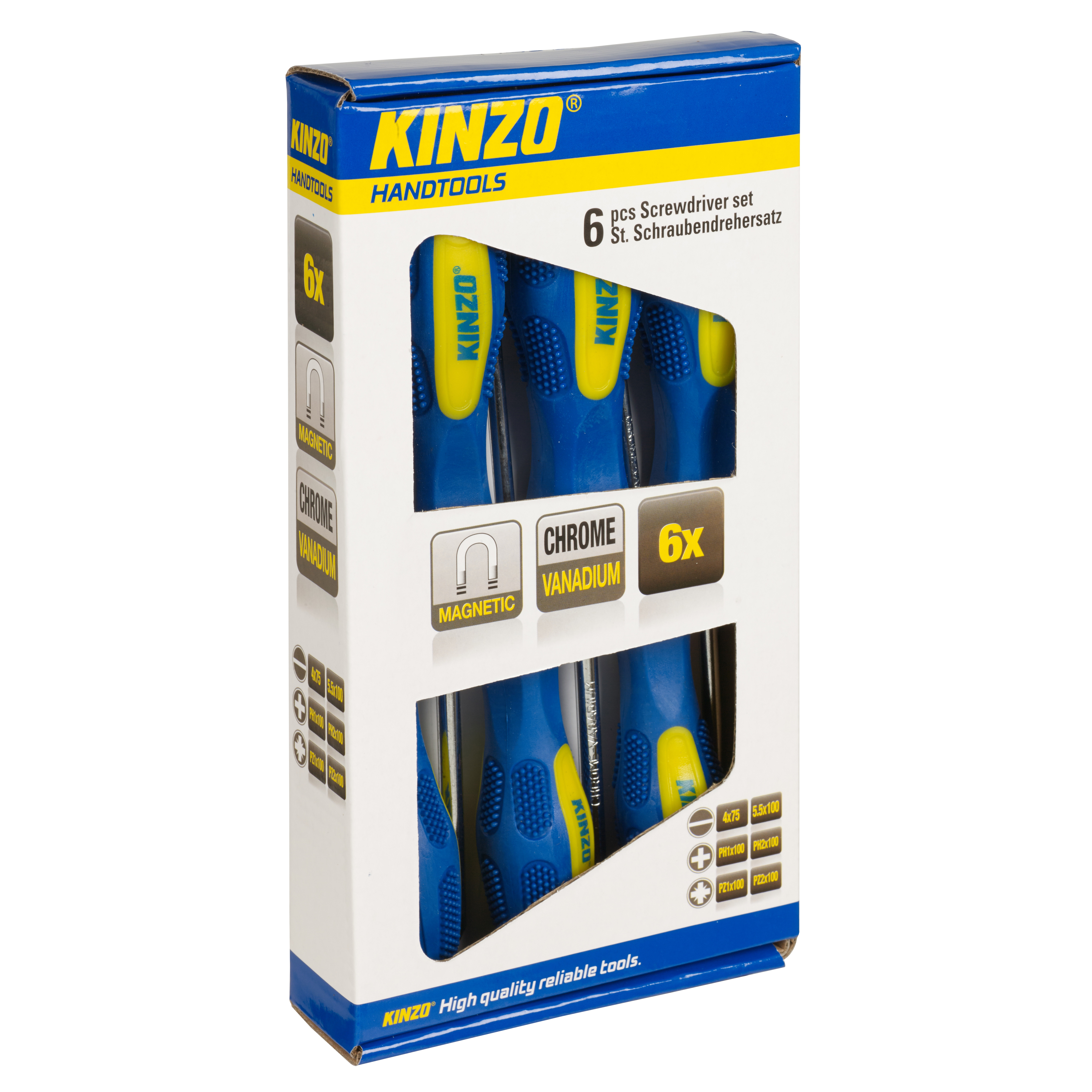 kinzo 6pc screwdriver tool set magnetic tip chrome vanadium philips flat slotted. Black Bedroom Furniture Sets. Home Design Ideas