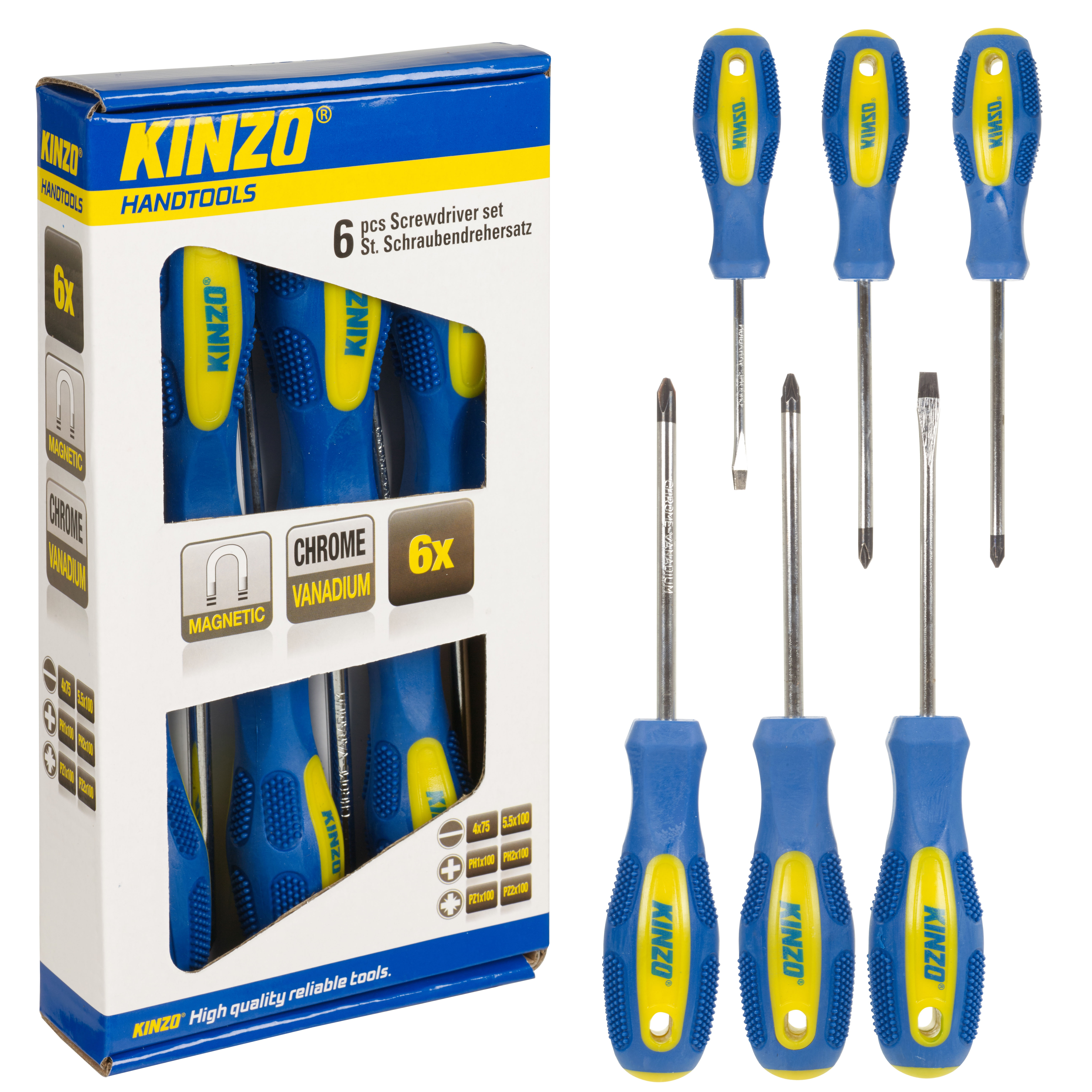 kinzo 6pc screwdriver tool set magnetic tip chrome vanadium philips flat slotted ebay. Black Bedroom Furniture Sets. Home Design Ideas