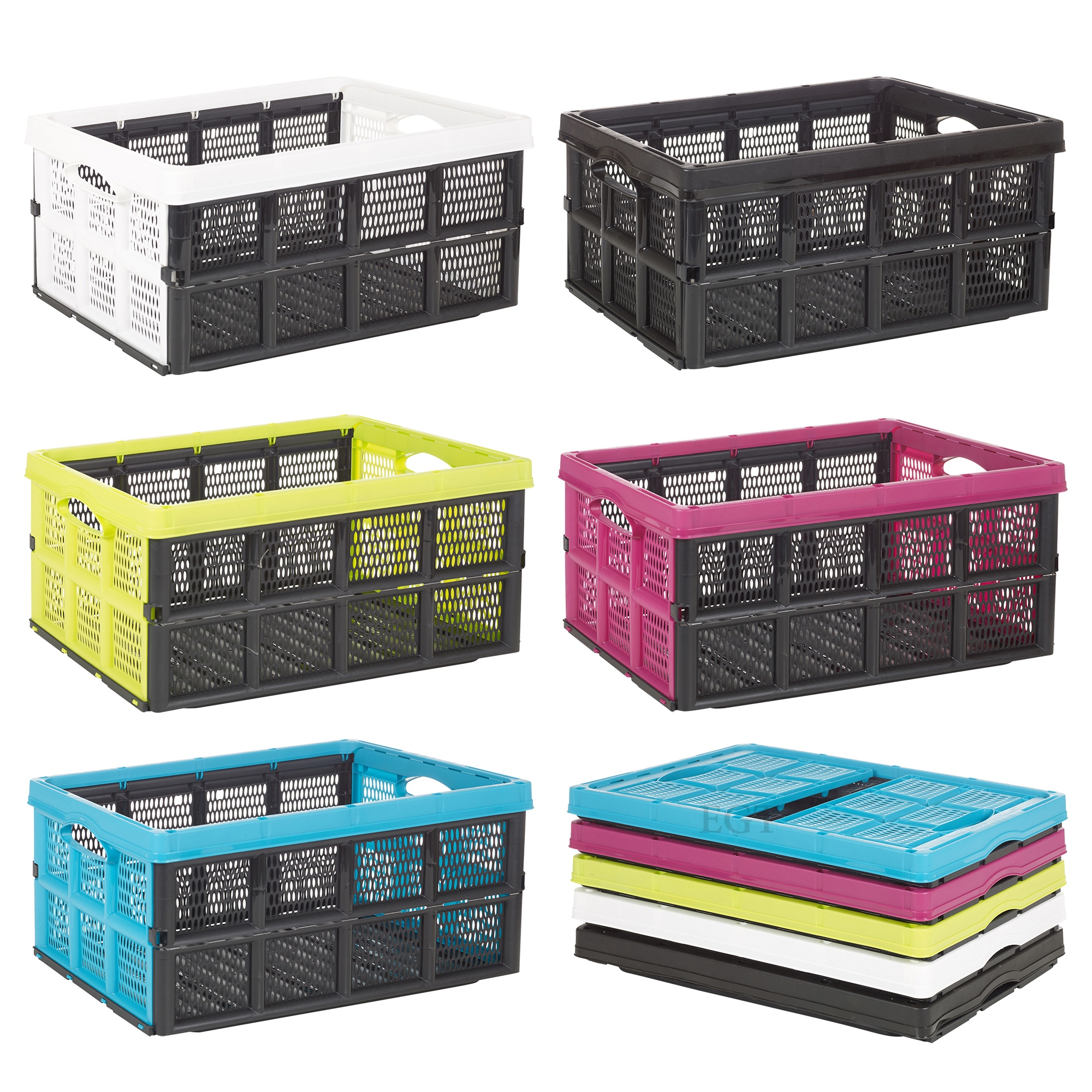 Collapsible 31 litre plastic storage crate box solution for Dimension box garage